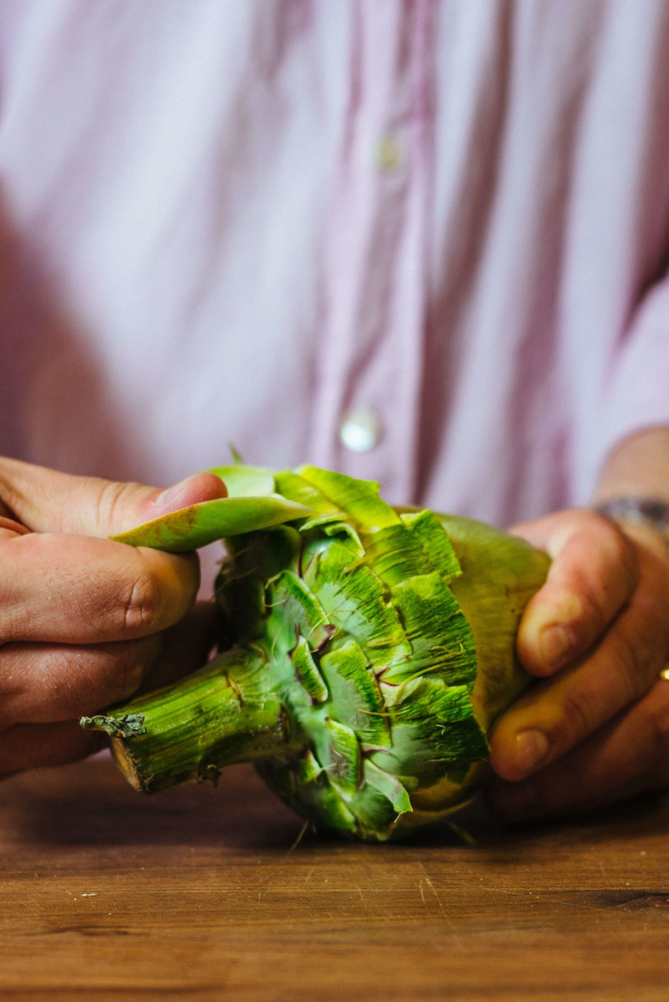 how to trim an artichoke - trim the leaves almost to the center