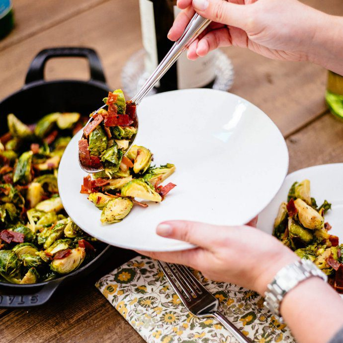 The Taste SF makes their recipe of spicy italian brussel sprouts with prosciutto di parma
