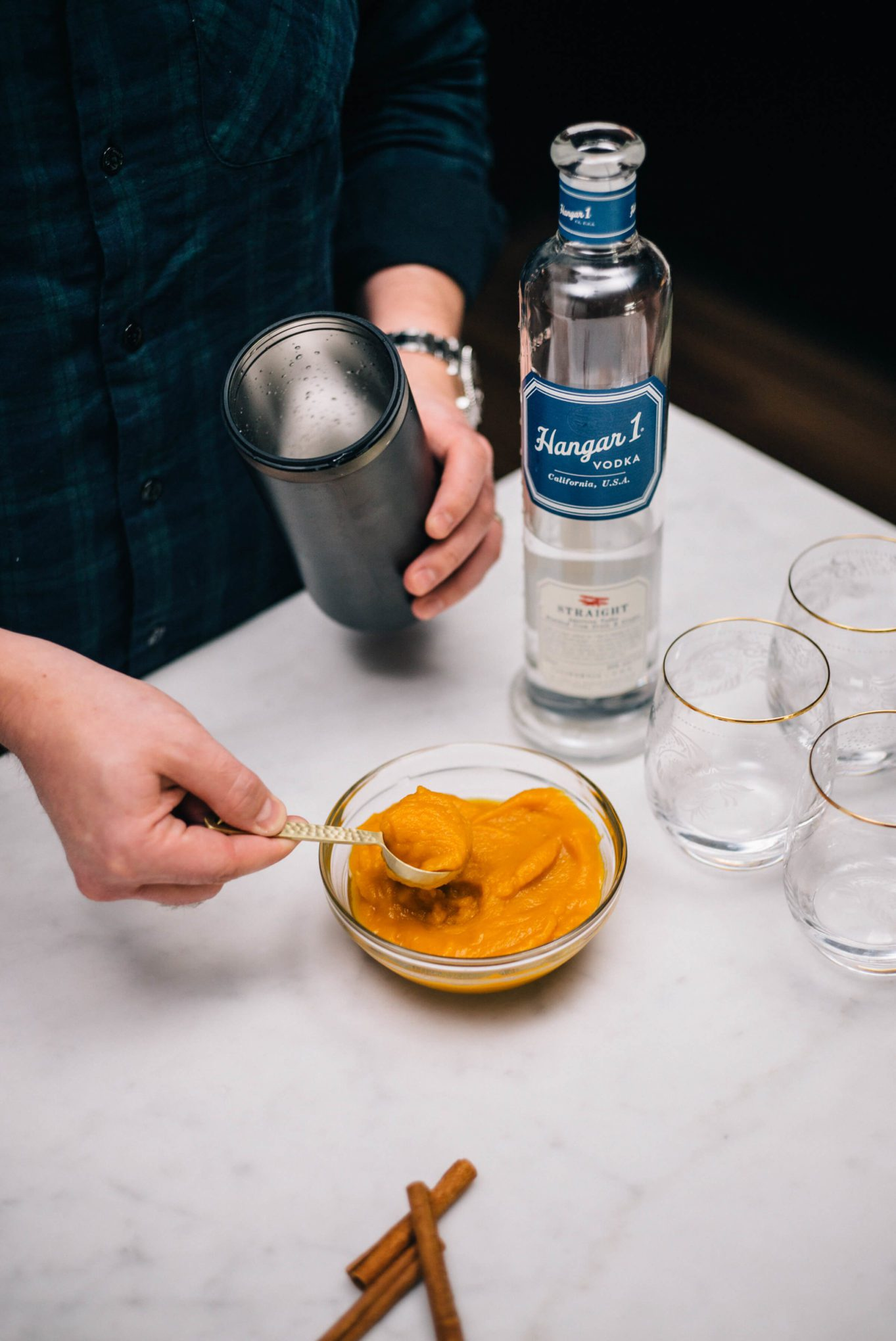 The Taste SF adds freshly roasted pumpkin puree with Hangar 1 Straight Vodka to makes Pumpkin Spice Cocktails