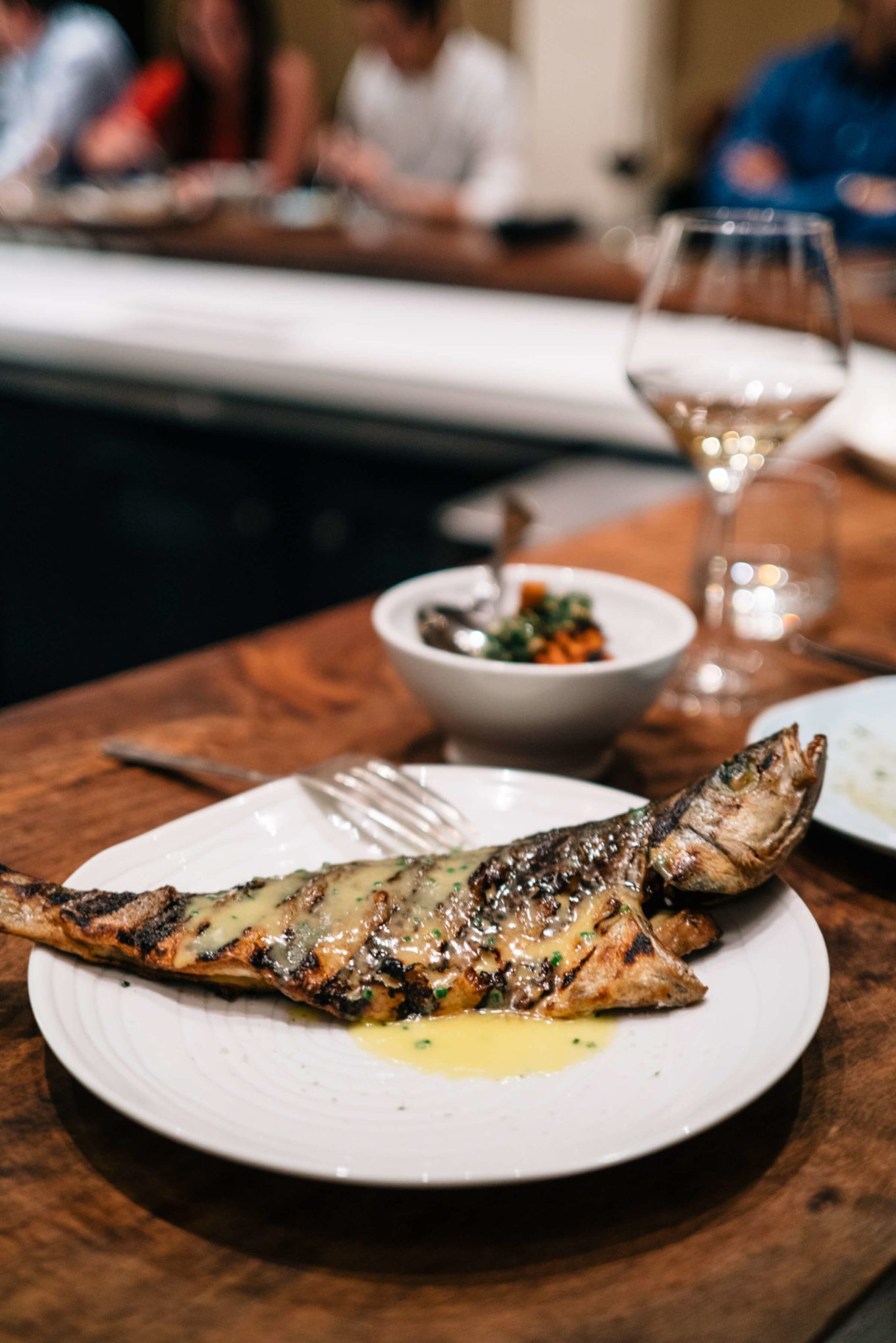 Grilled branzino fish with lemon beurre blanc at Petit Crenn in Hayes Valley San Francisco, Dominique Crenn, The Taste SF