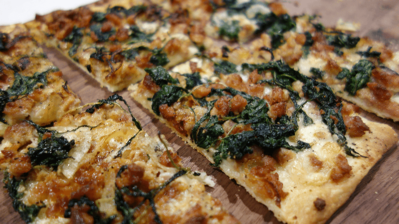 flatbread with sausage pizza