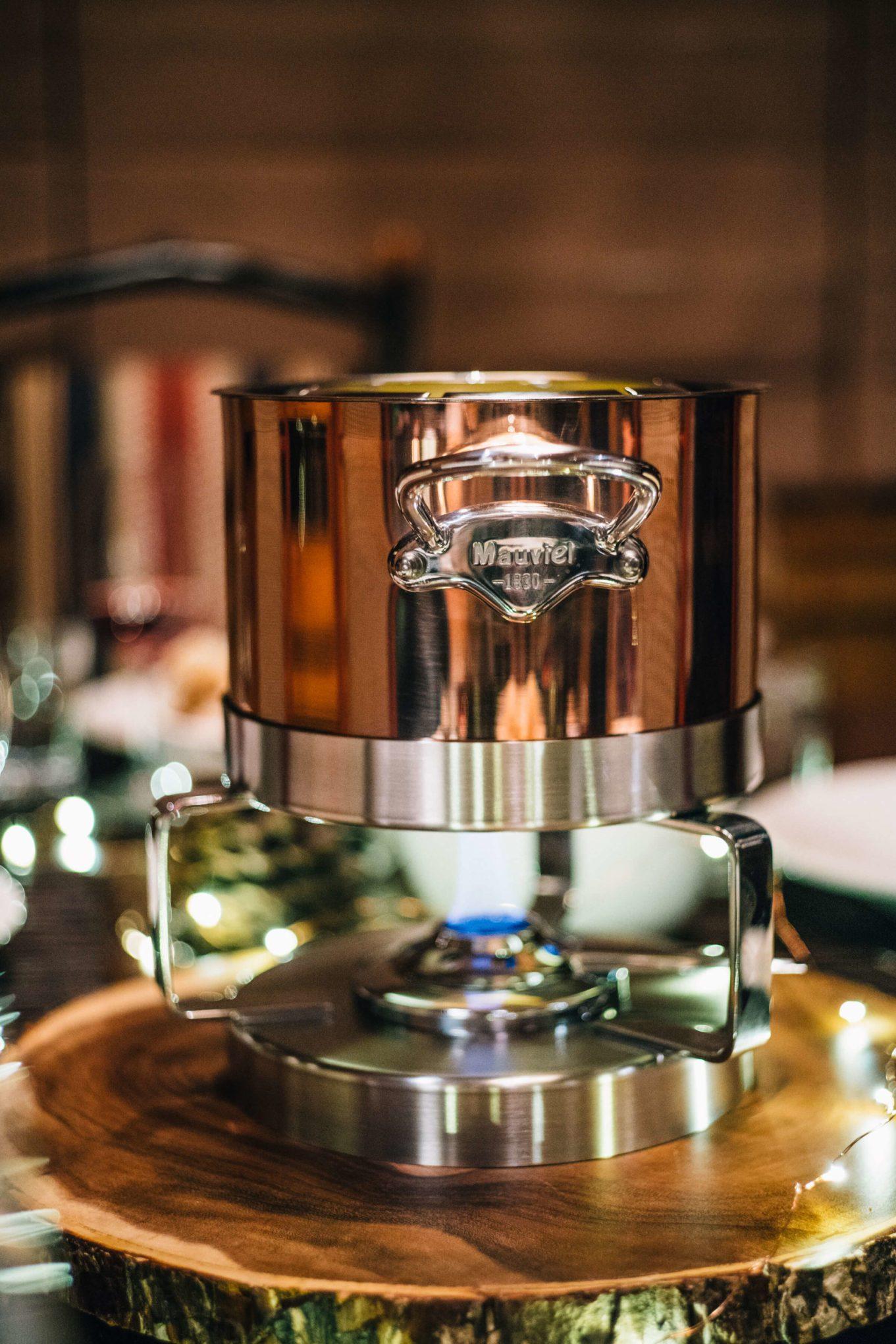 Fondue Party with Mauviel fondue pot on the taste edit in tahoe