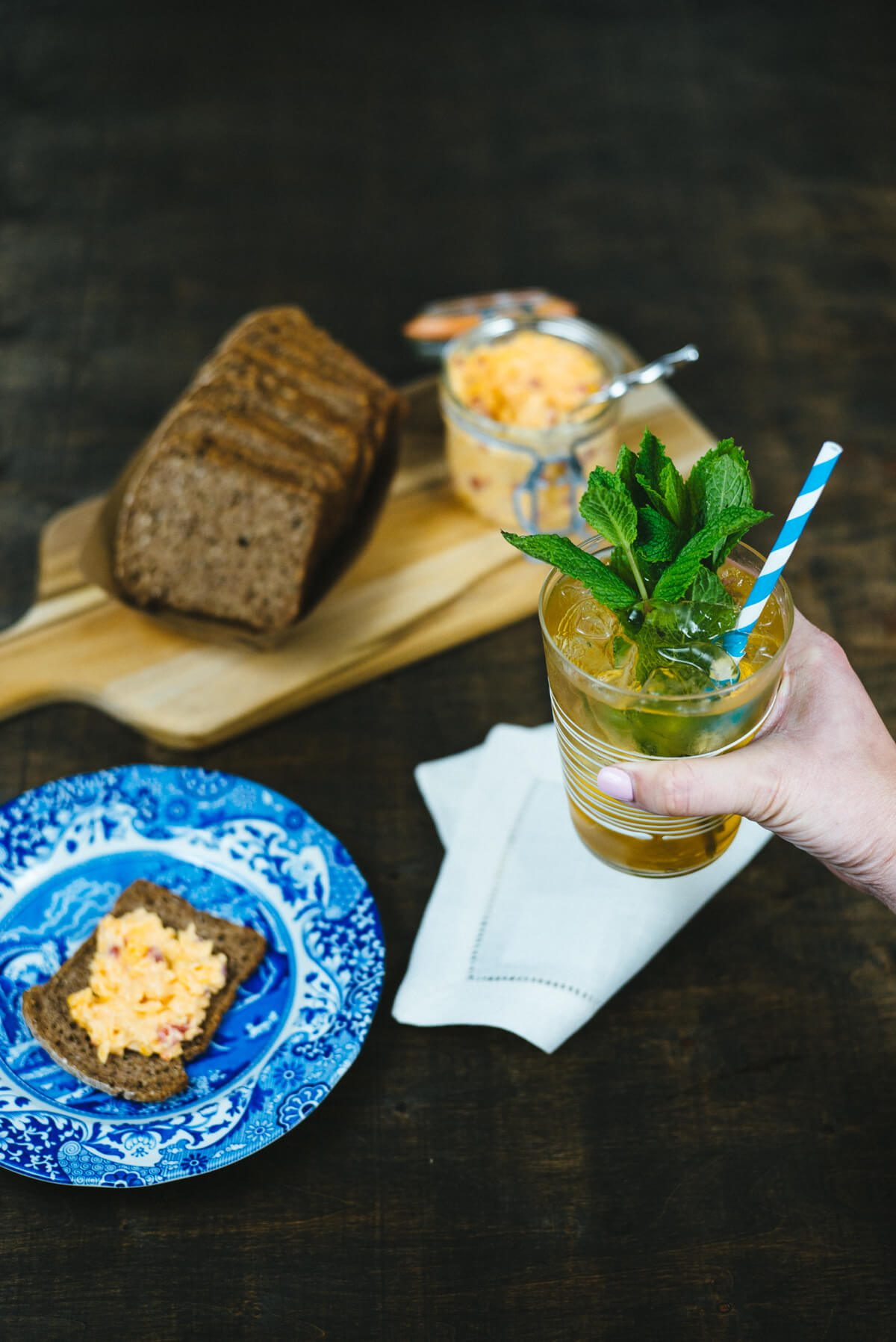 Serving pimento cheese dip and crackers with a mint juleps for the Kentucky Derby.