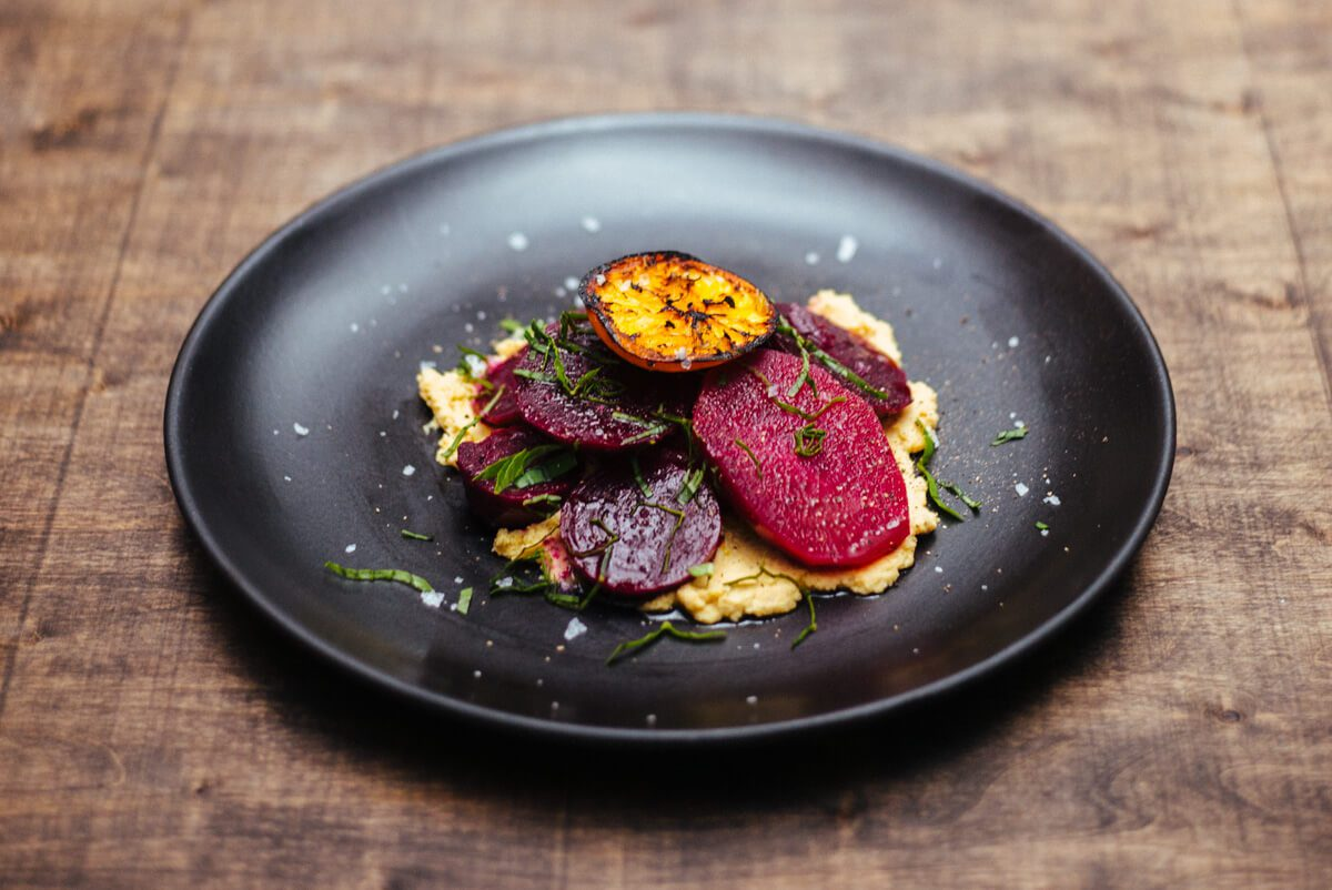 The Taste Edit makes Roasted beets with grilled tangerine and garlic hummus