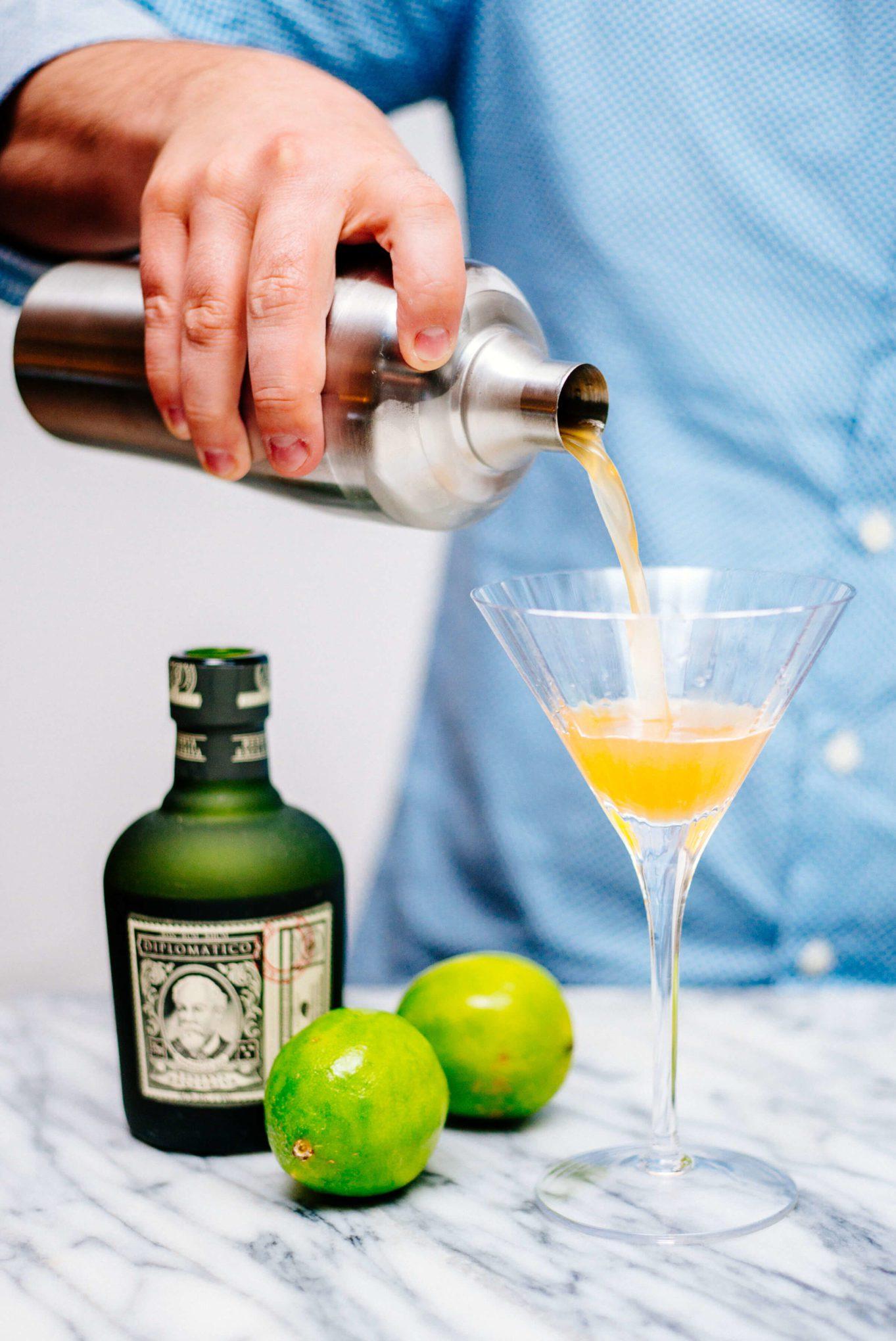 The Taste SF pouring a Lemon Verbena Daiquiri