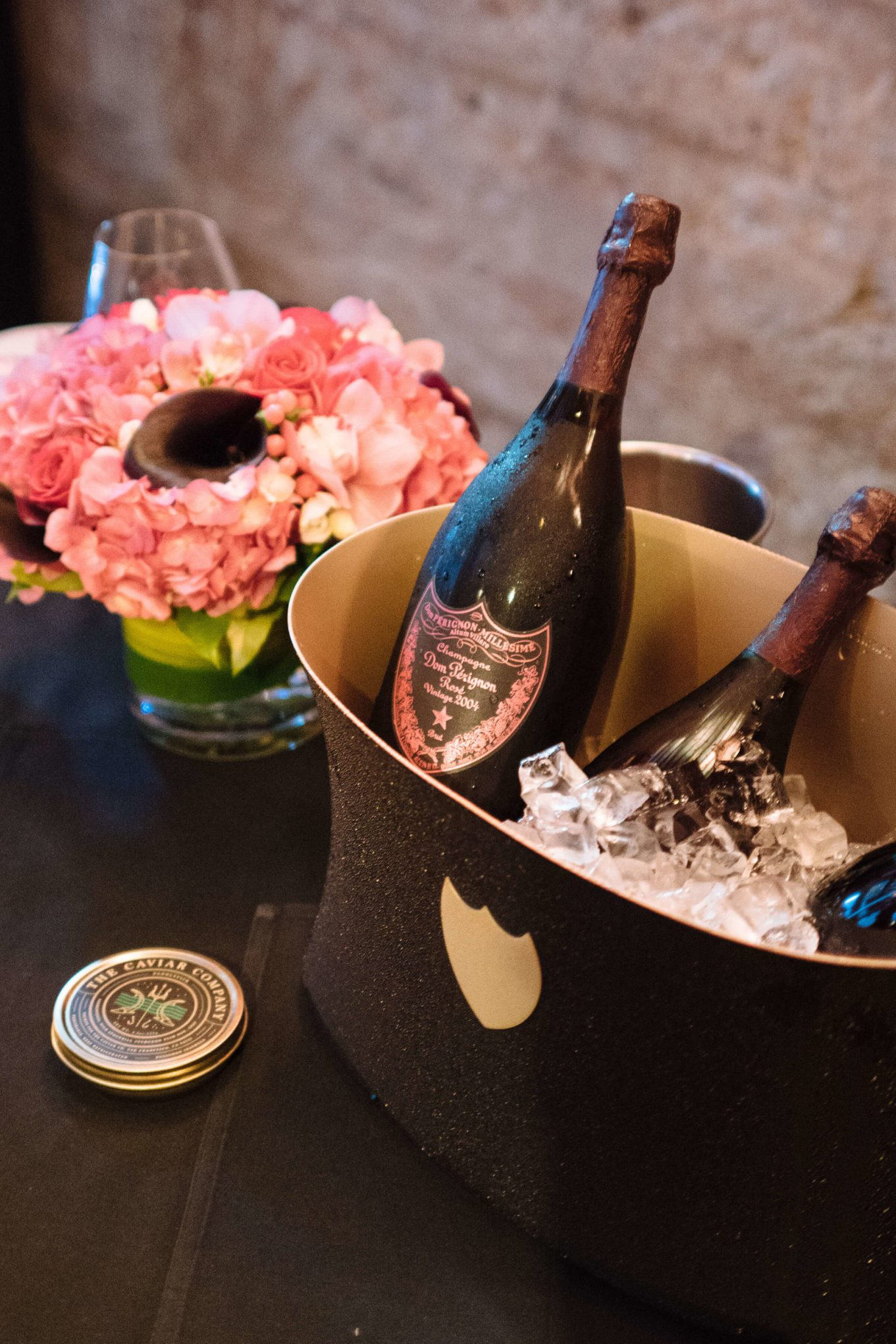 Dom Perignon Rose served with BLT bites with paddlefish roe