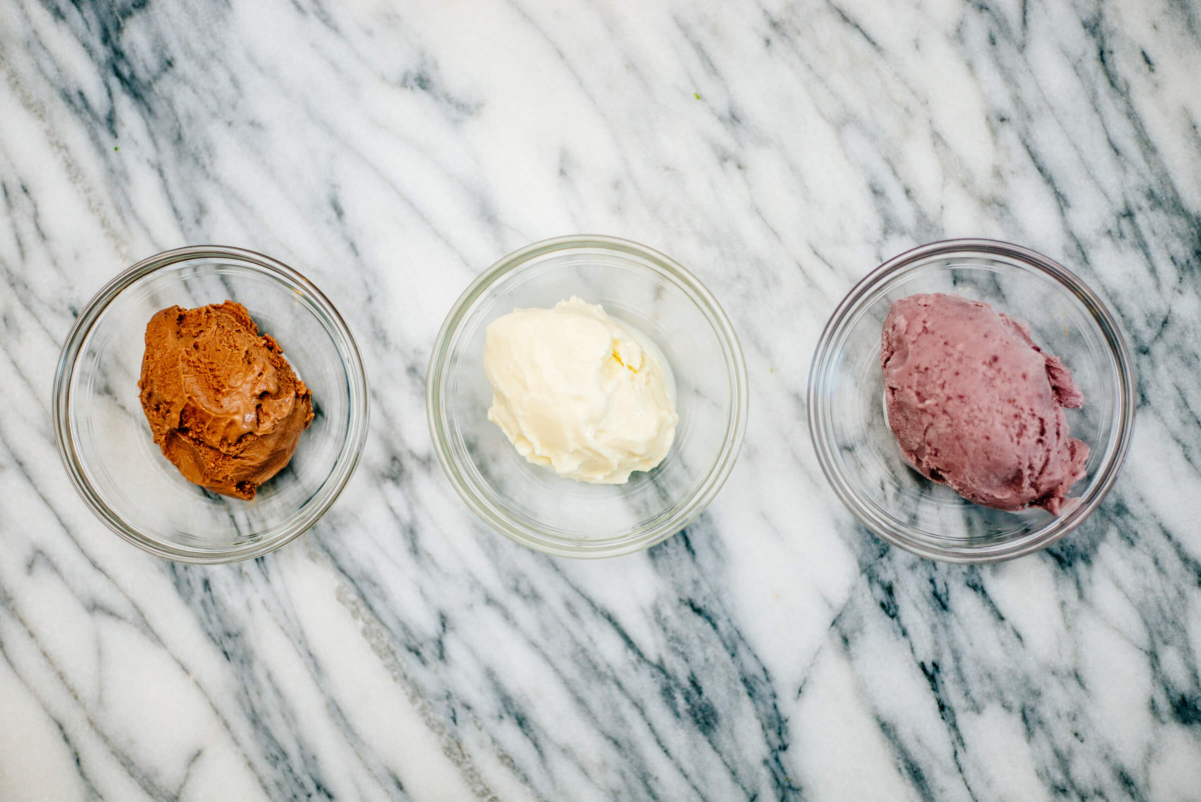 three types of gelato or ice cream by The Taste Edit