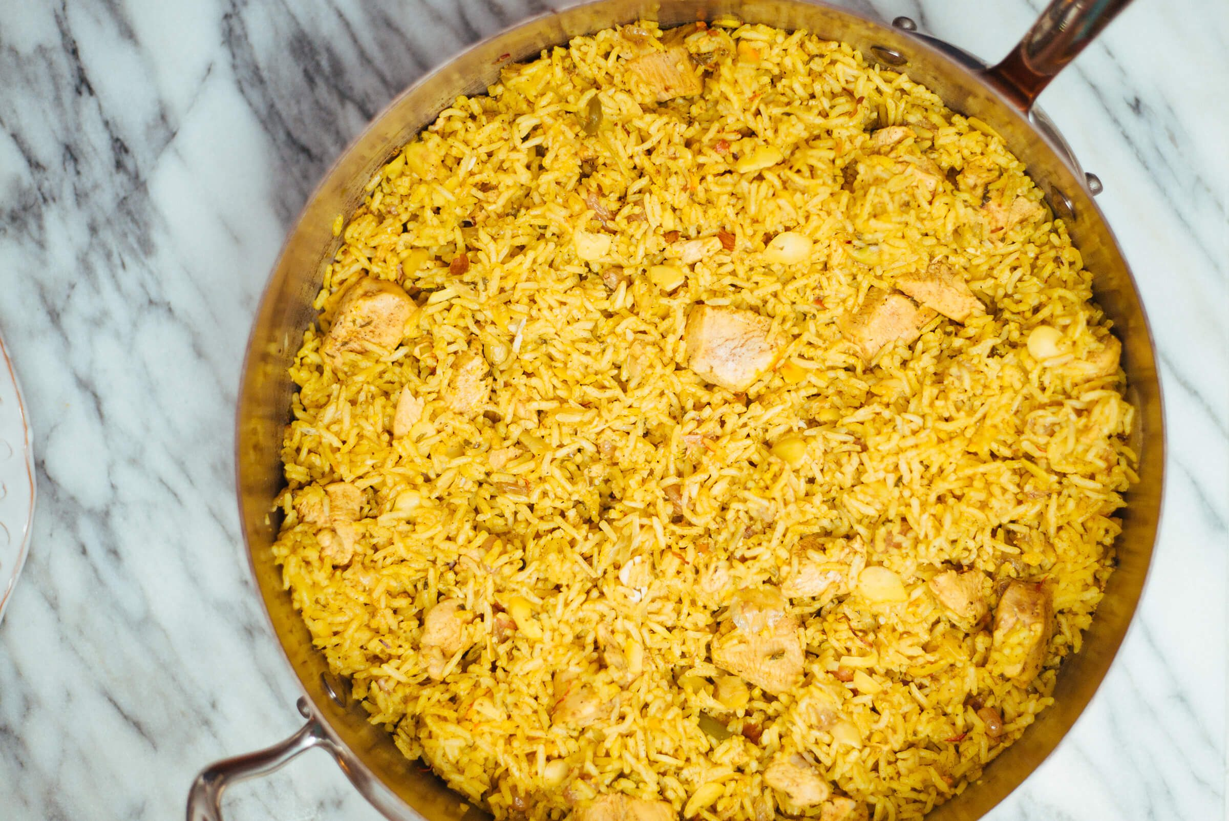 Indian food like Chicken Biryani recipe made in a Mauviel pan