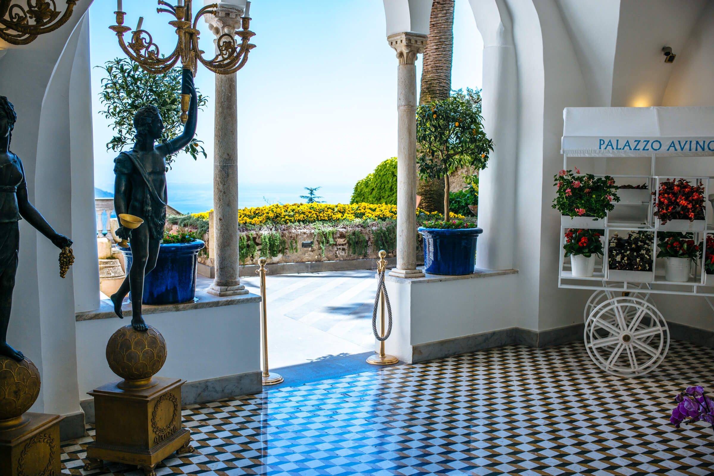 Patio at the best hotel in ravello Palazzo Avino, The Taste Edit