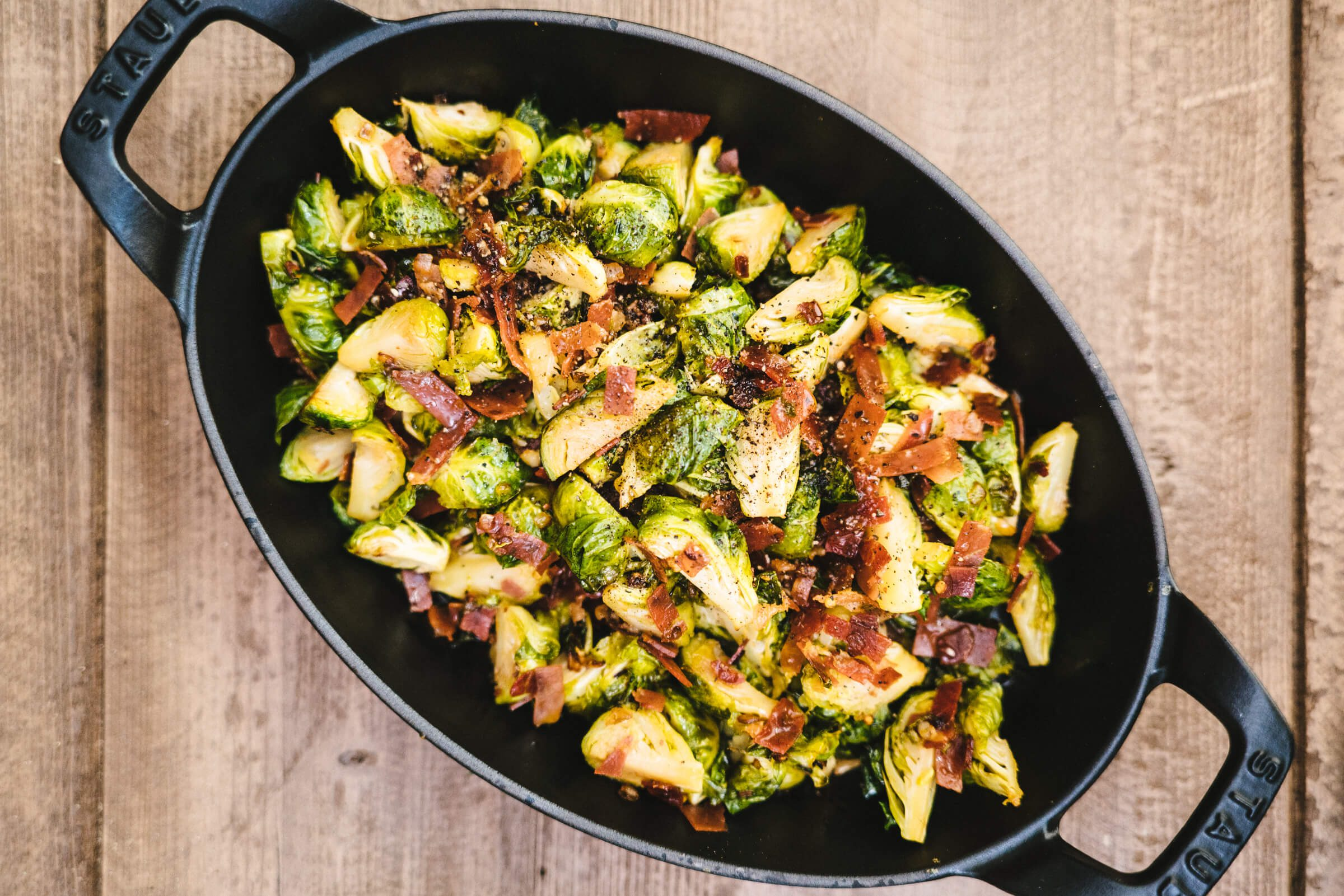 The Taste Edit made brussel sprouts with prosciutto di parma