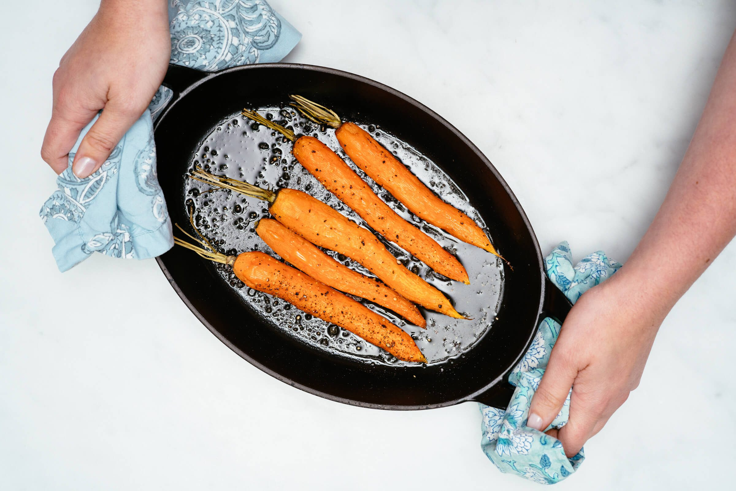 Roasted Carrots in a cast iron skillet is a simple side dish, The Taste SF