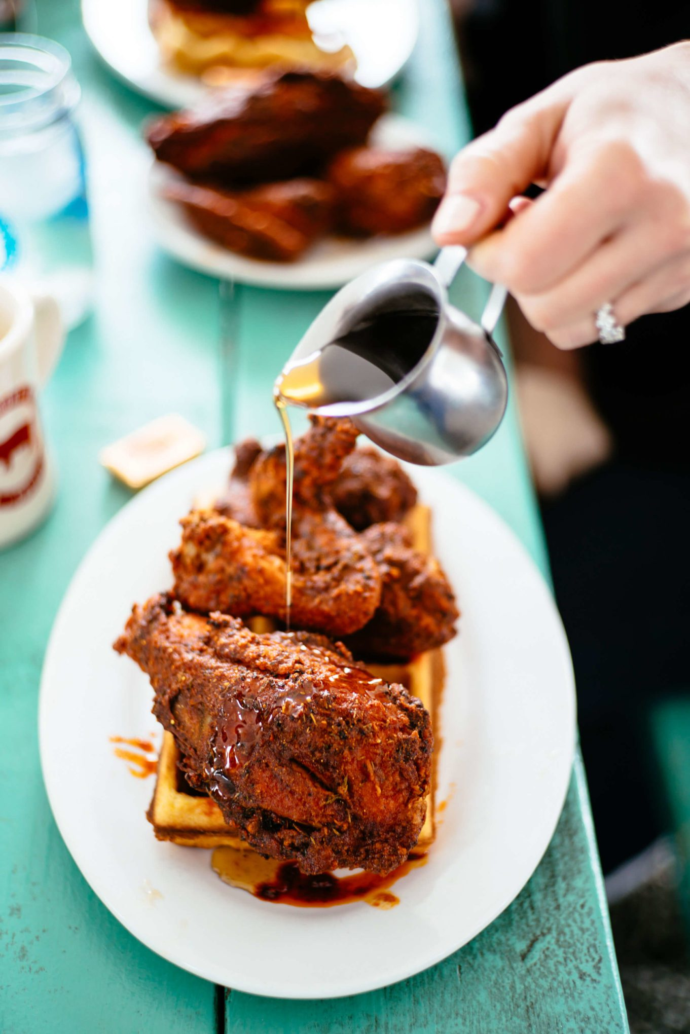 The Fremont Diner Nashville hot chicken is the best with waffles and syrup