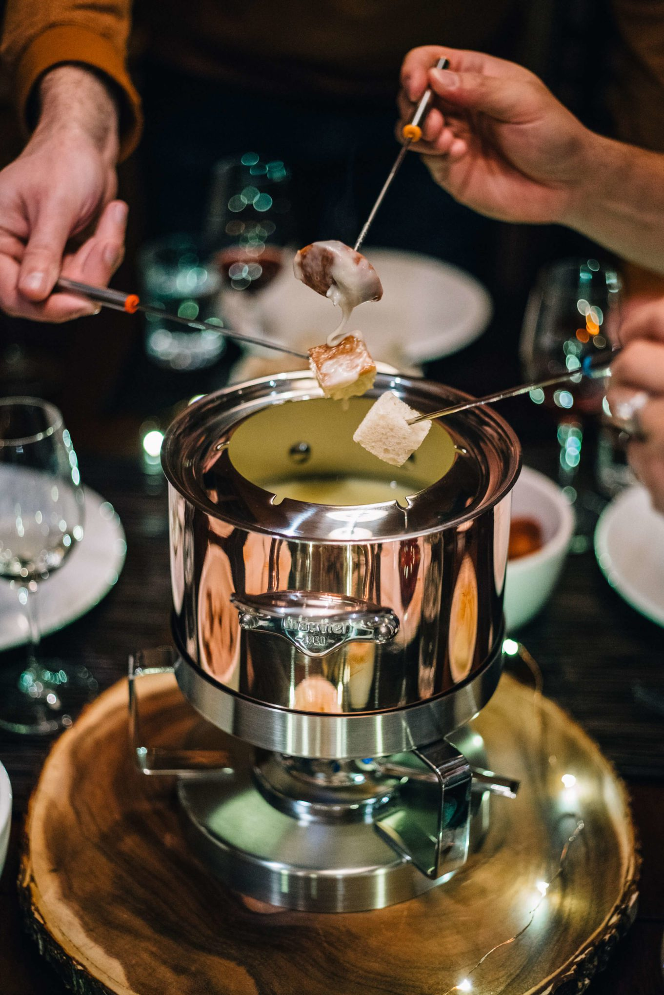 Late night fondue party with the taste edit and mauviel in truckee tahoe