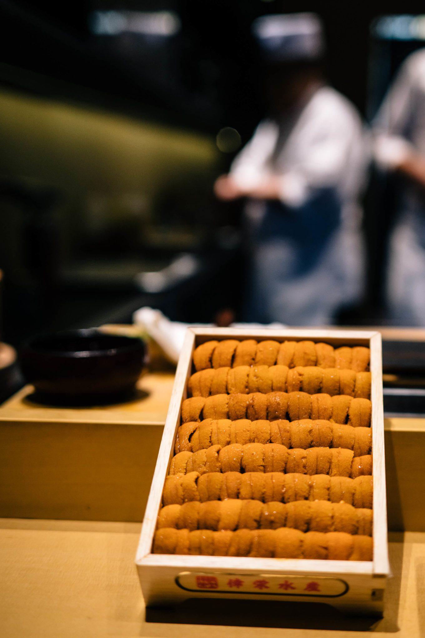 Tray of uni from Japan at San Francisco's Omakase restaurant, The Taste Edit