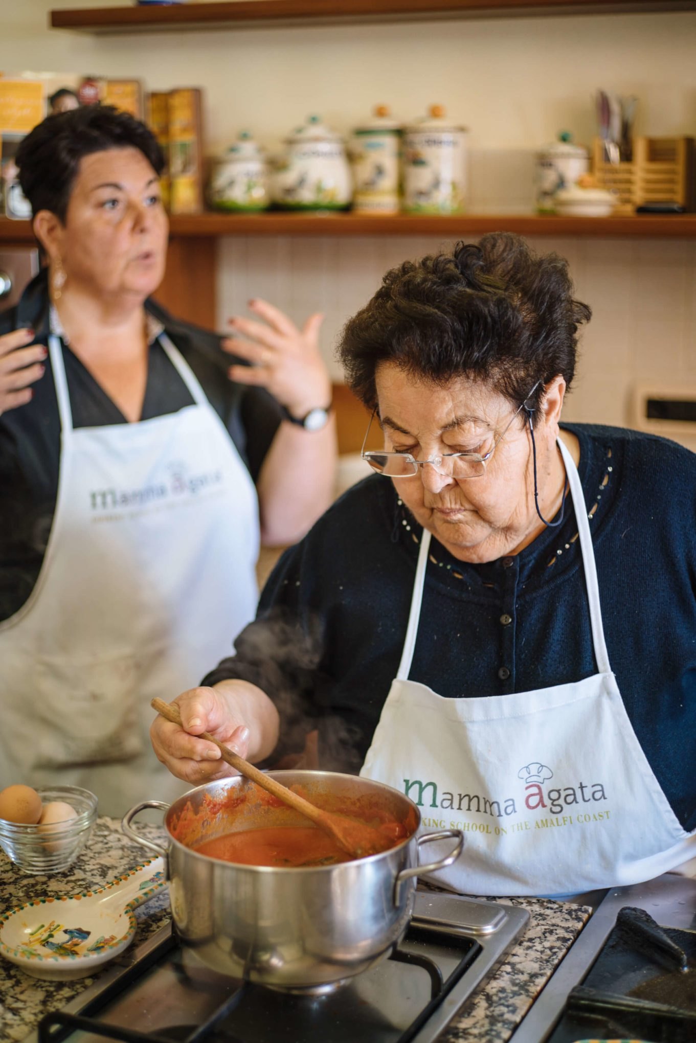 Mamma Agata makes her famous tomato sauce in Ravello Italy, the taste sf san francisco