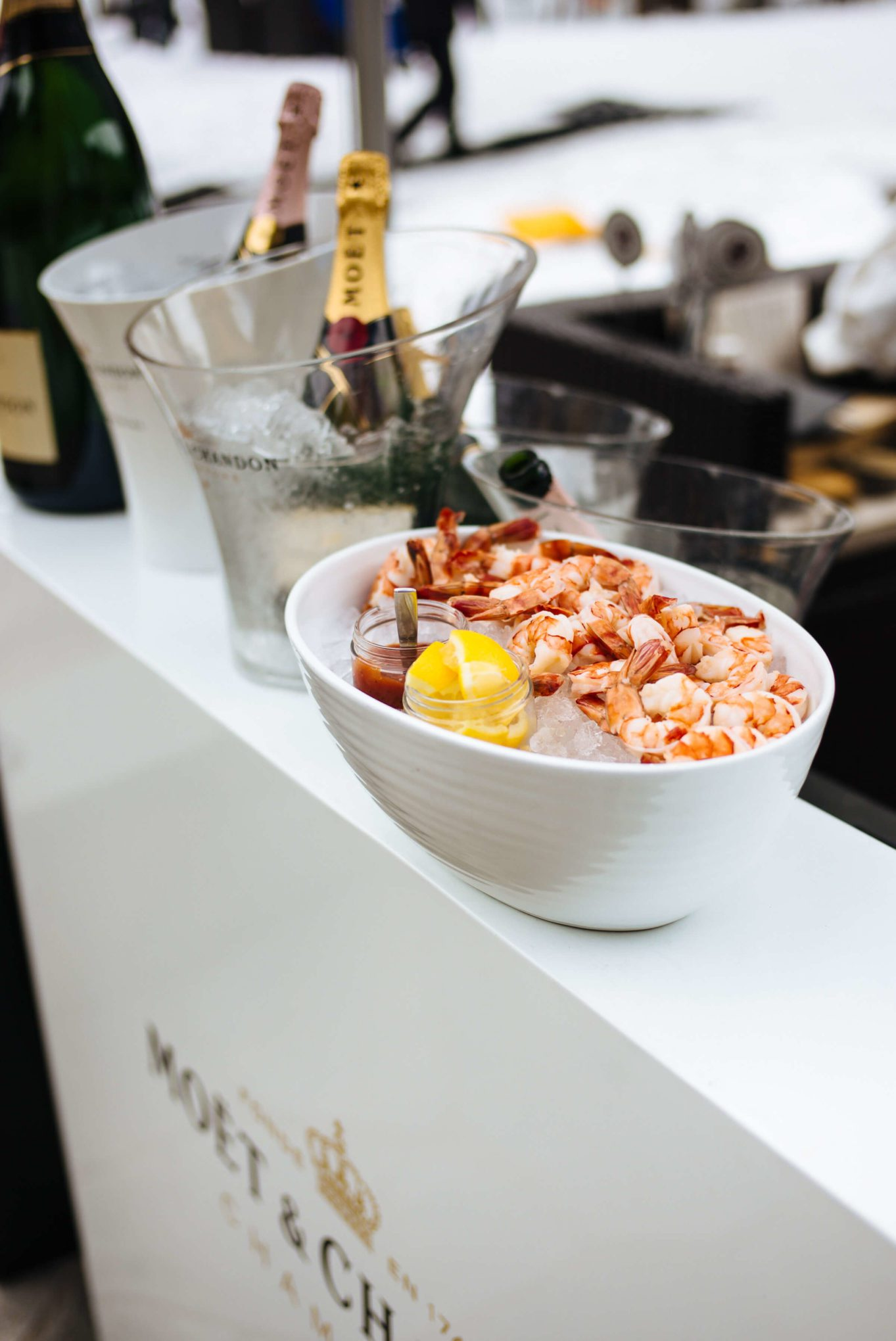 The Ritz-Carlton Lake Tahoe Apres Ski treat with shrimp and Moet Chandon by the fire, The Taste Edit