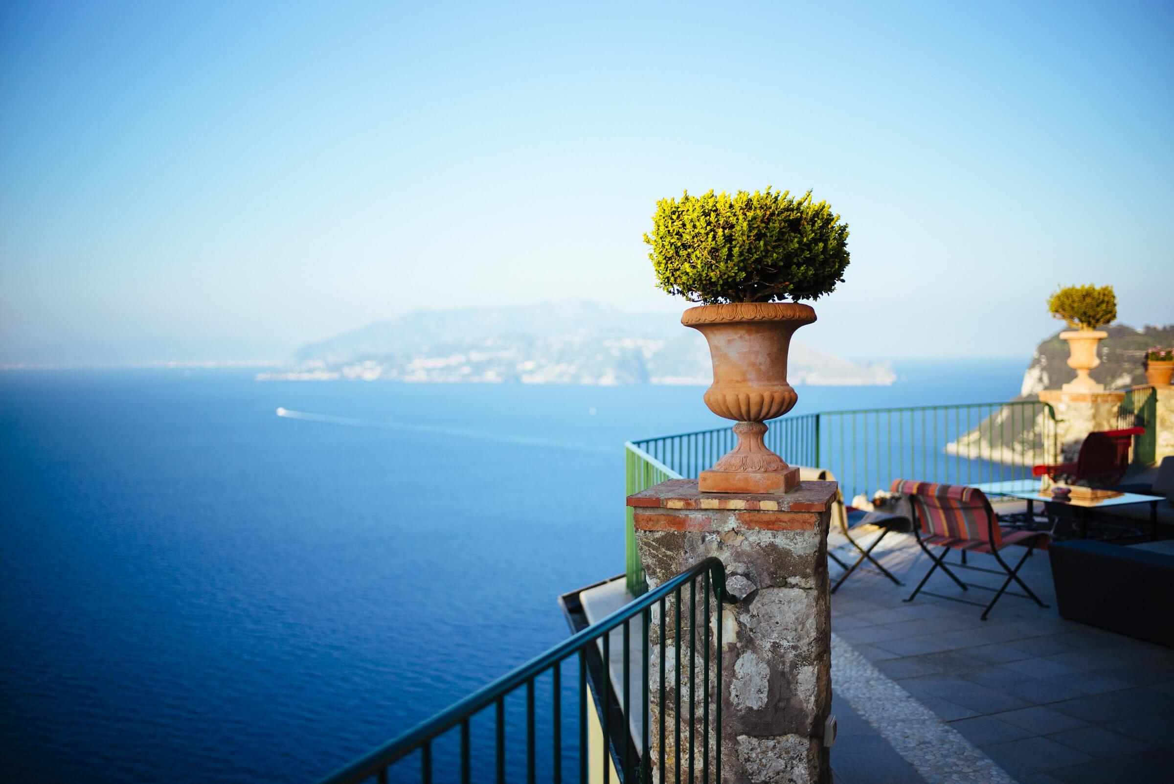 Overlook on the balcony off Hotel Caesar Augustus Capri Italy, The Taste SF
