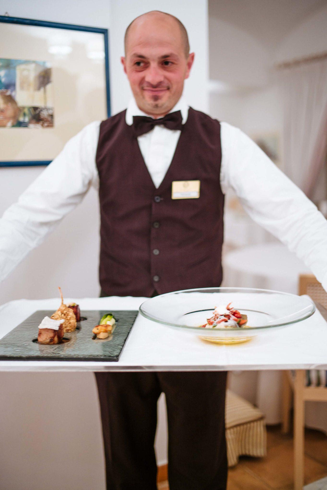 Serving dinner at Rossellini's Restaurant in Palazzo Avino, Ravello Italy, The Taste Edit