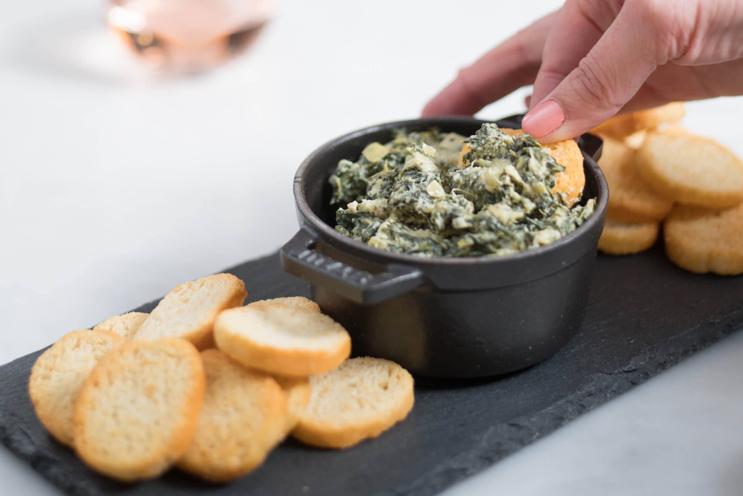 MAIO makes this healthy Spinach Artichoke dip recipe with Bolthouse MAIO garlic, The Taste Edit