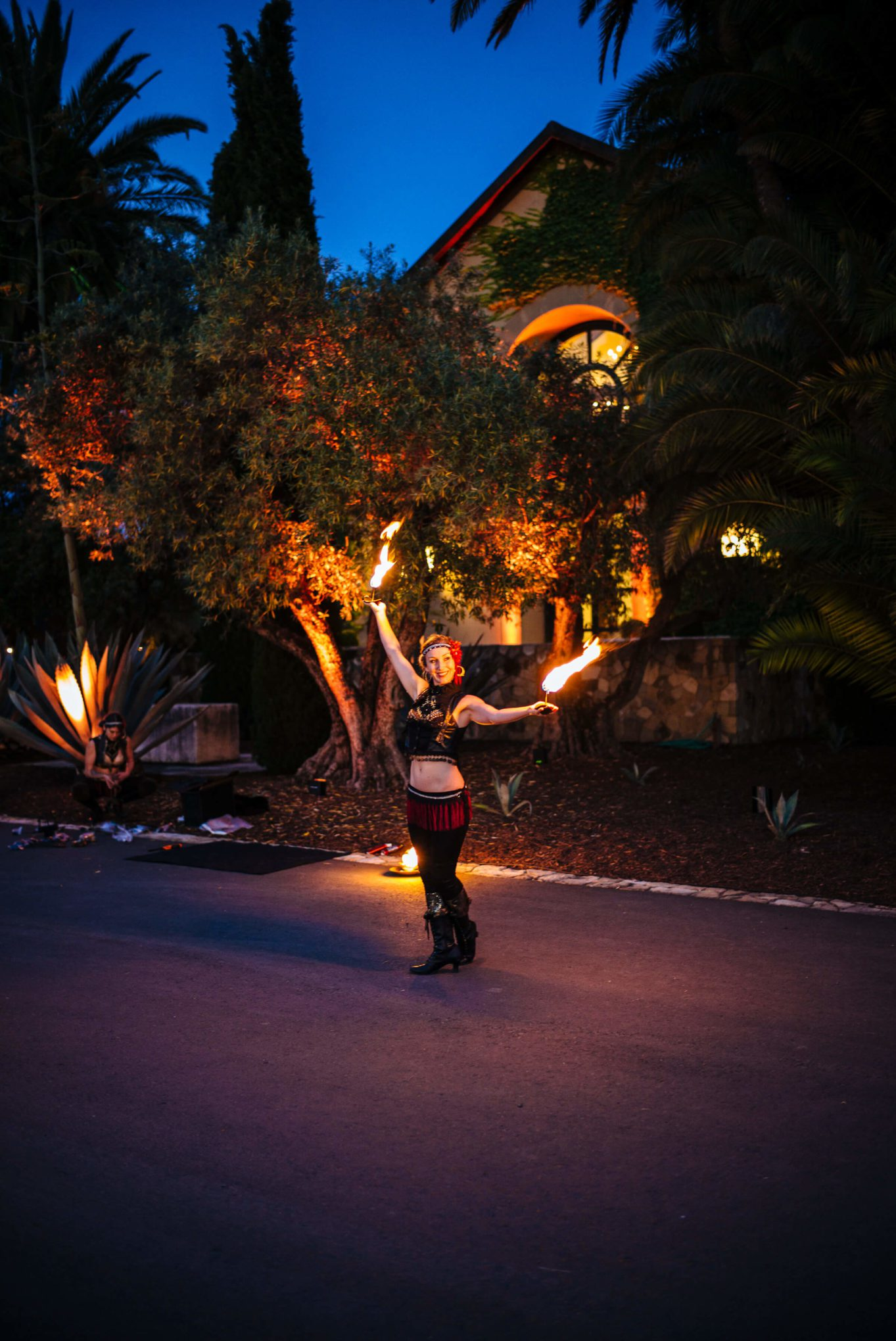 Fire dancers at Round Pond Estate Sunset Palm Dinner in Napa, The Taste SF