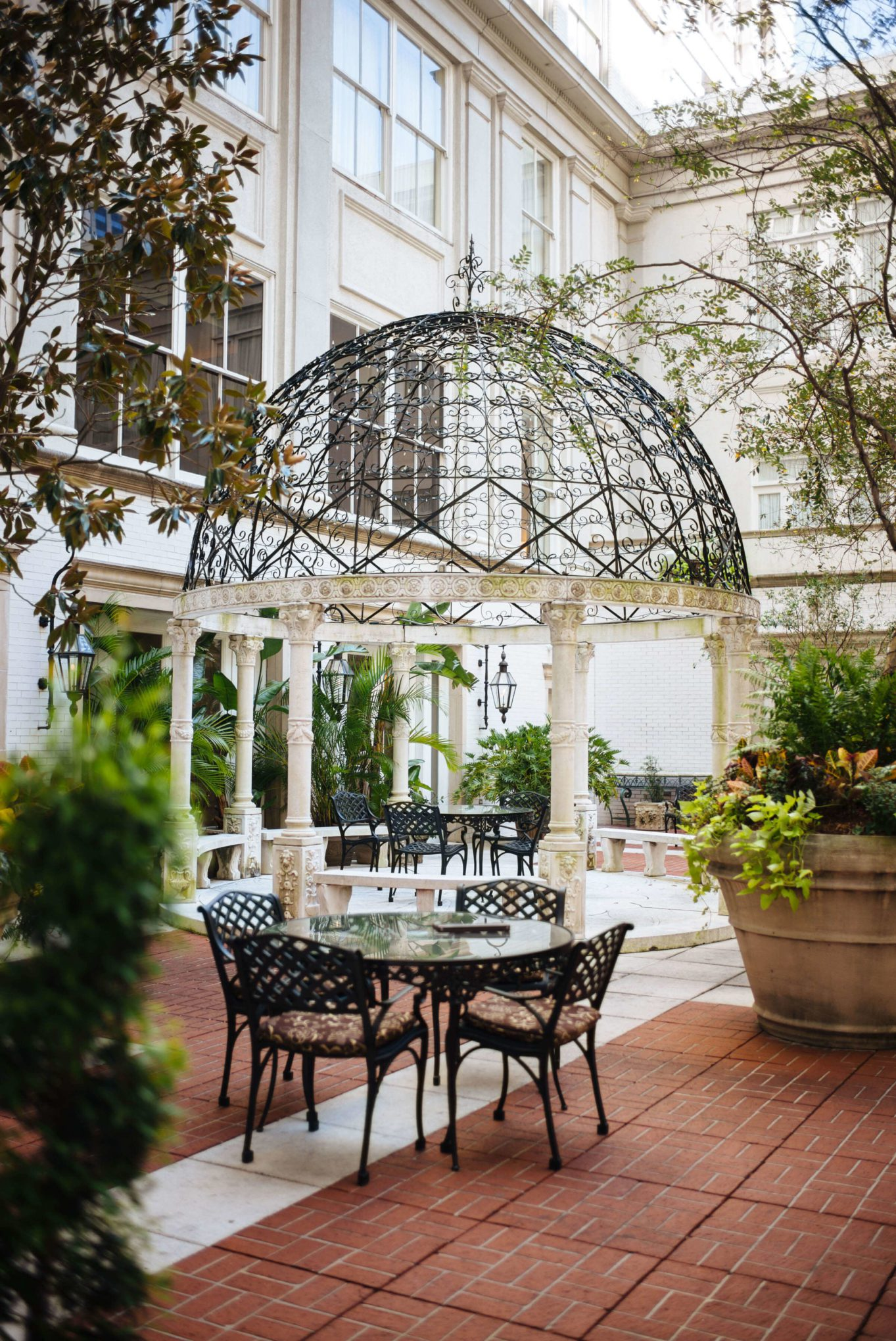 Interior patio at the best hotel in New Orleans, The Ritz-Carlton New Orleans, The Taste SF