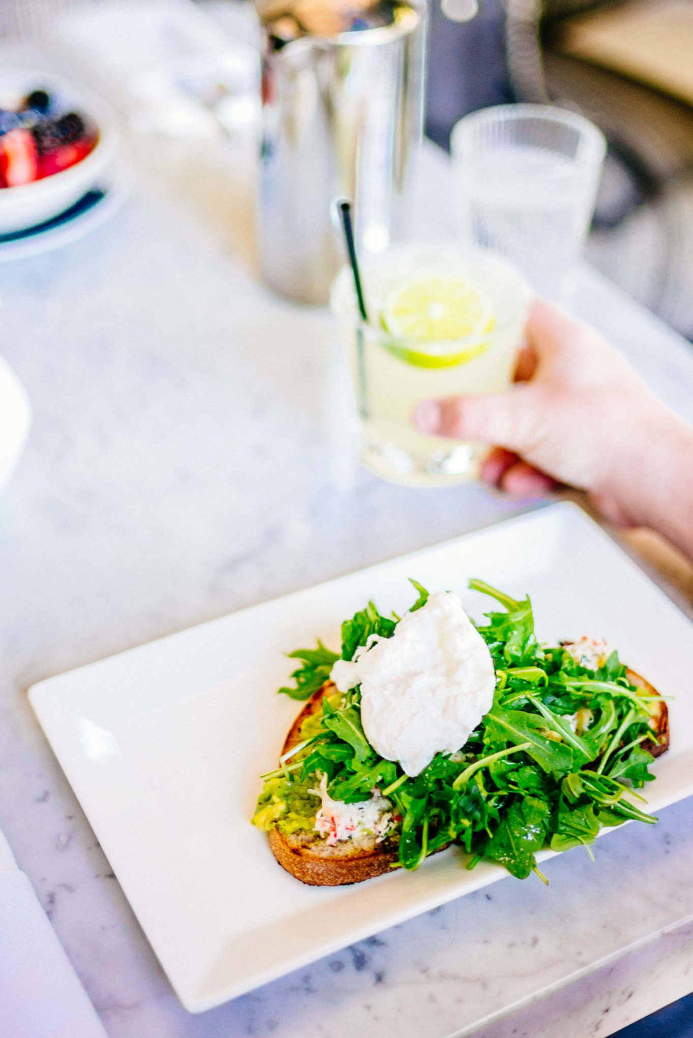 This is serious avocado toast with crab at Chi Chi at the Avalon Hotel Palm Springs , The Taste Edit