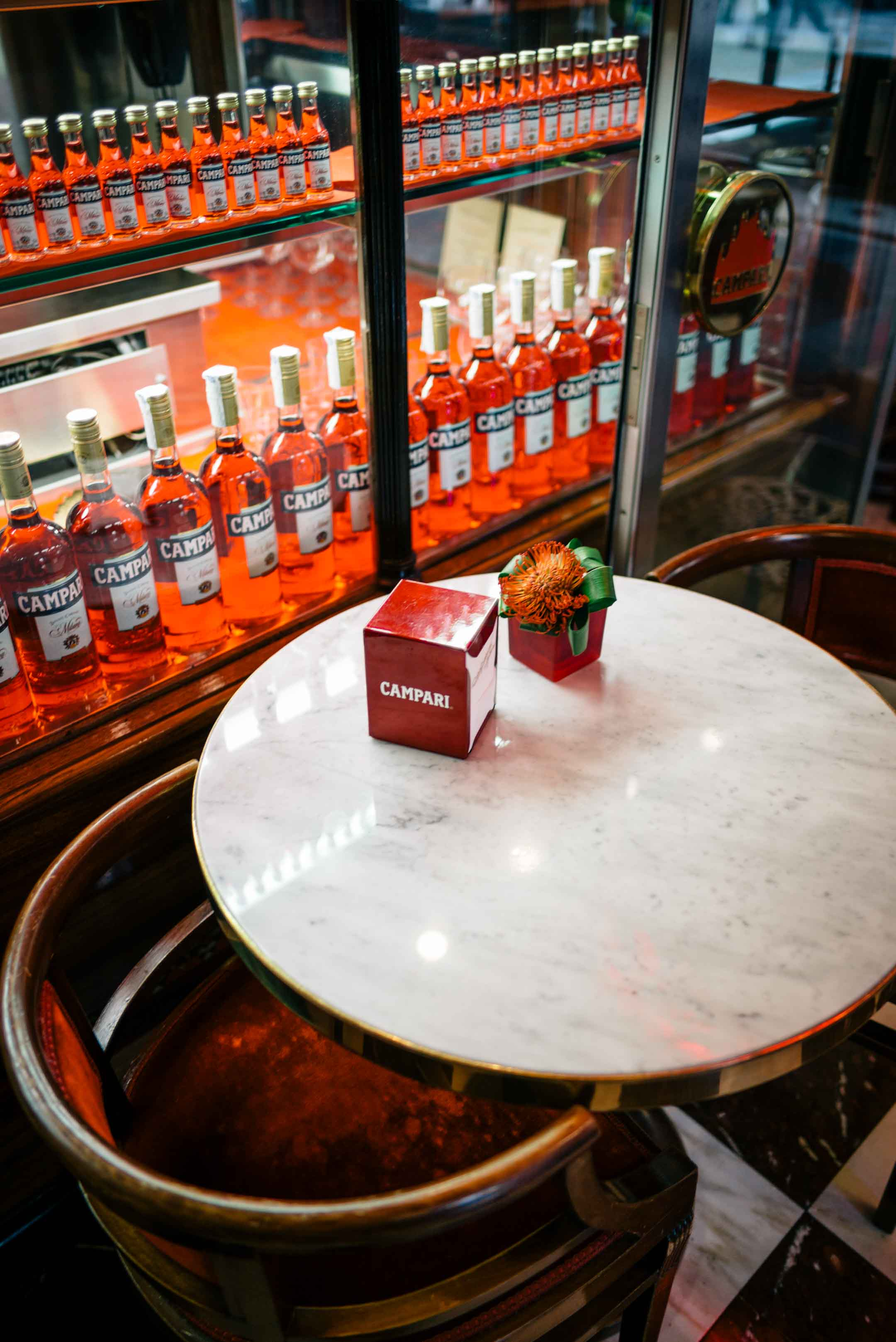 The Taste Edit recommends visiting the Campari Bar in Milan for a cocktail. You'll find tourists and locals alike!