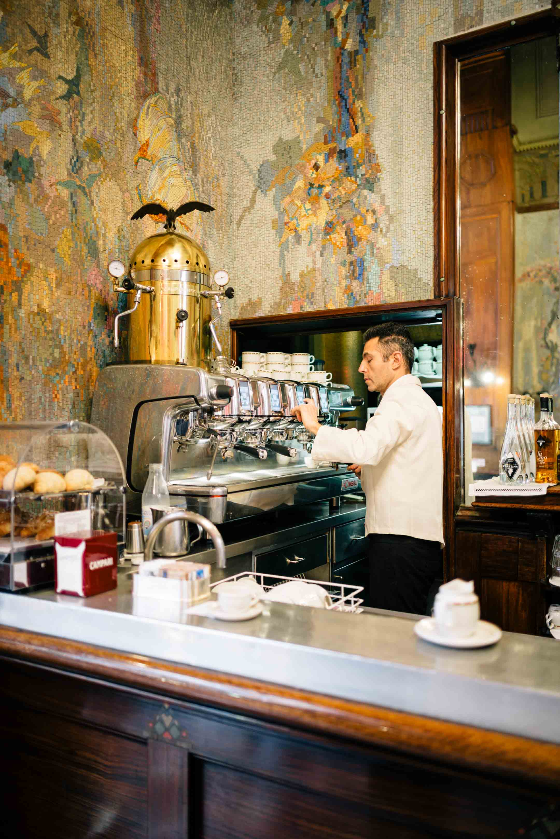 The Taste Edit recommends getting a coffee in the morning at Camparino in Galleria in Milan - the original campari cocktail bar - before heading to the duomo.