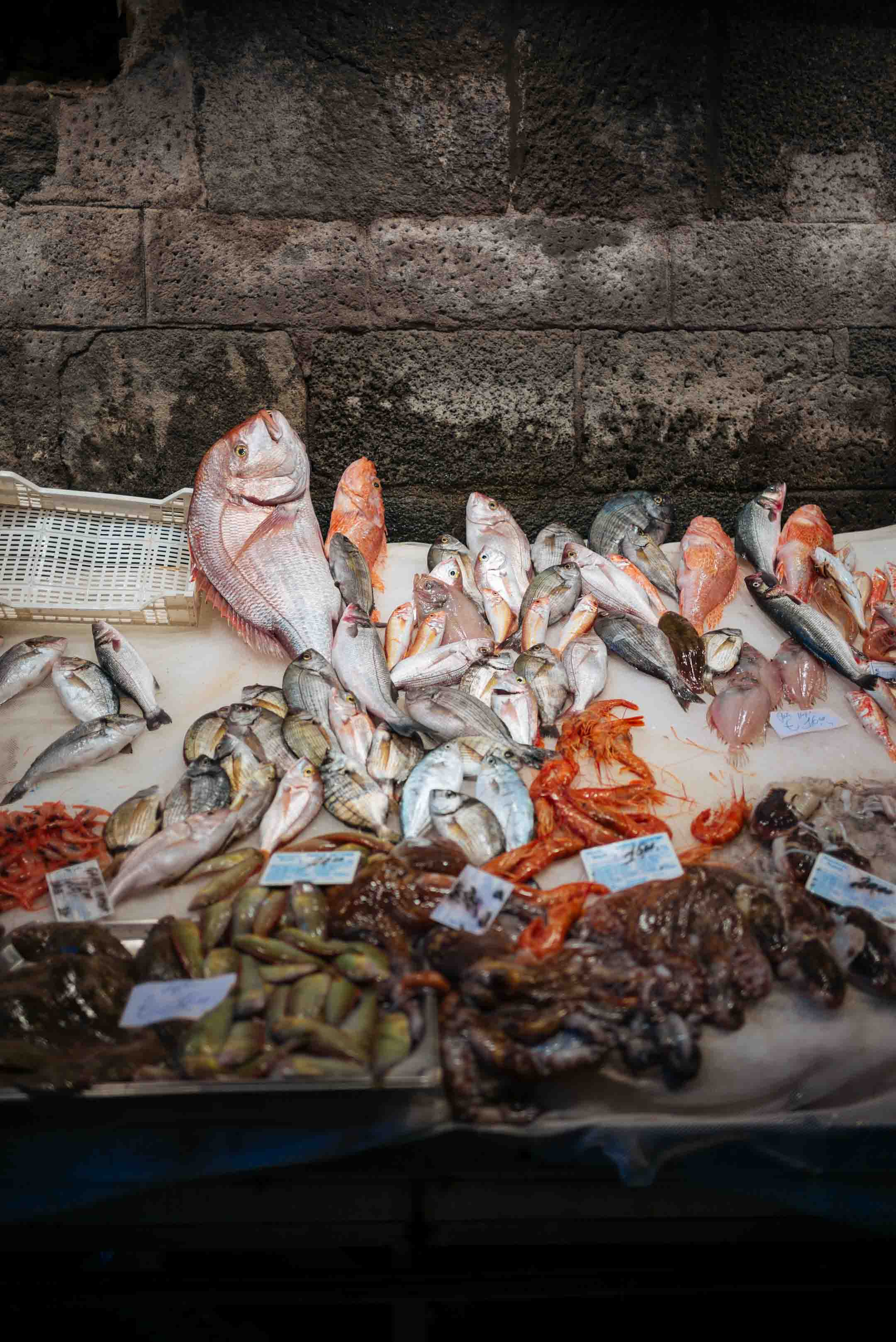 Fish stall at the Catania fish market in Sicily Italy, the taste sf