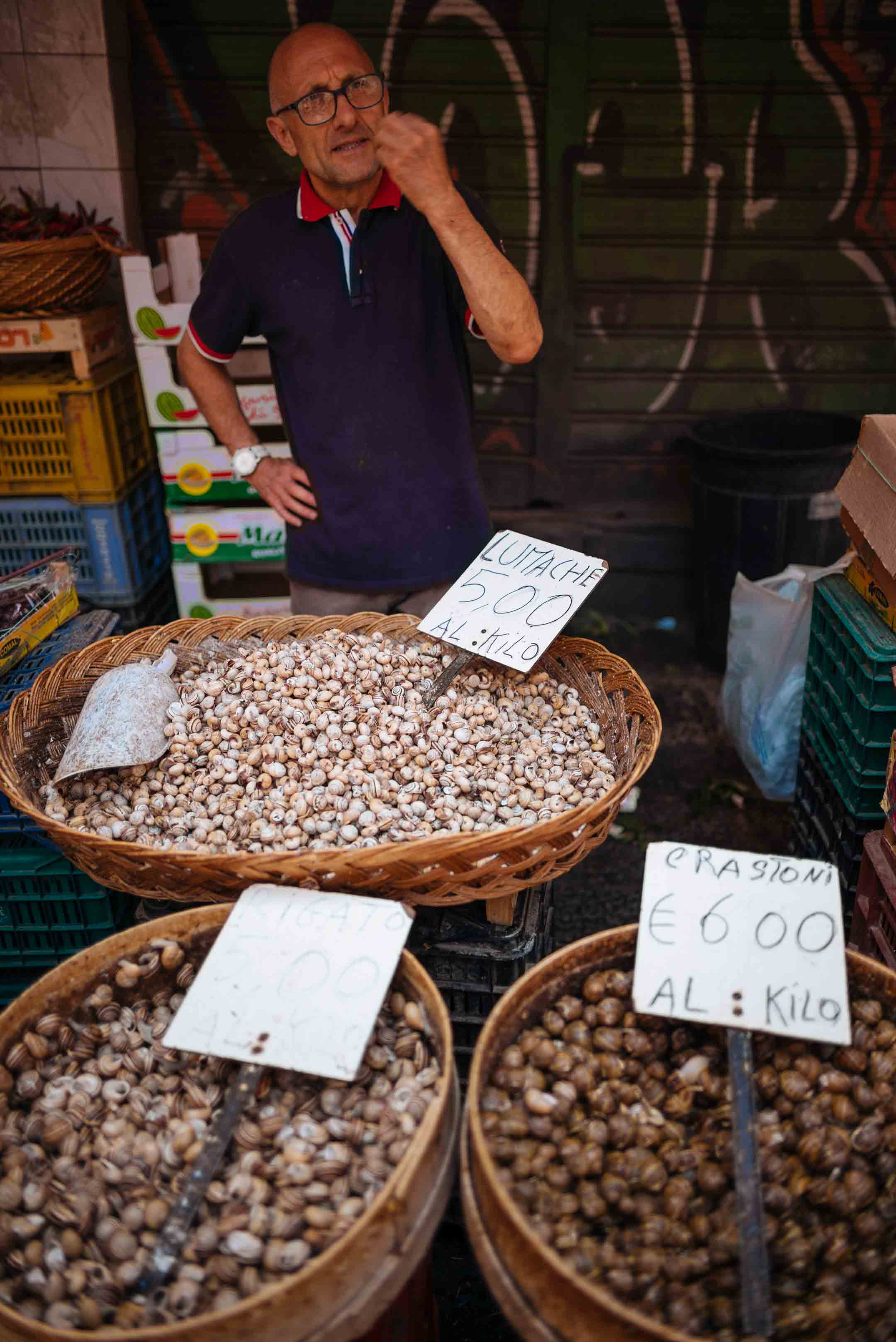 The Taste Edit visits the Catania fish market and spots a snail vendor in Sicily.