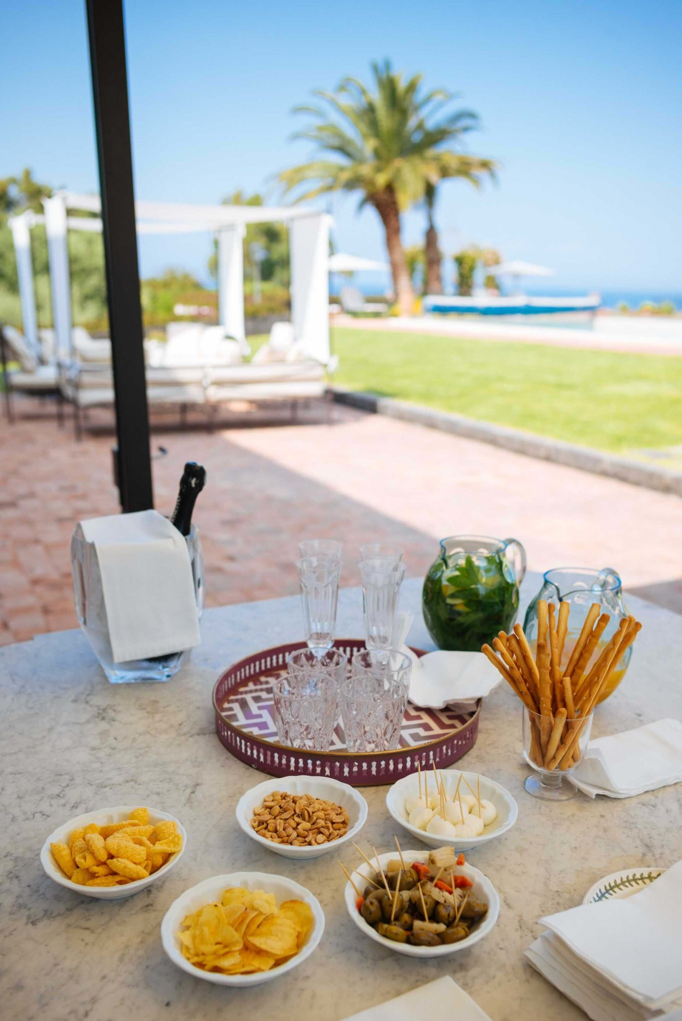 The Taste Edit is welcomed with an apertivo when they arrived at villa Don Venerando in Sicily, Italy.