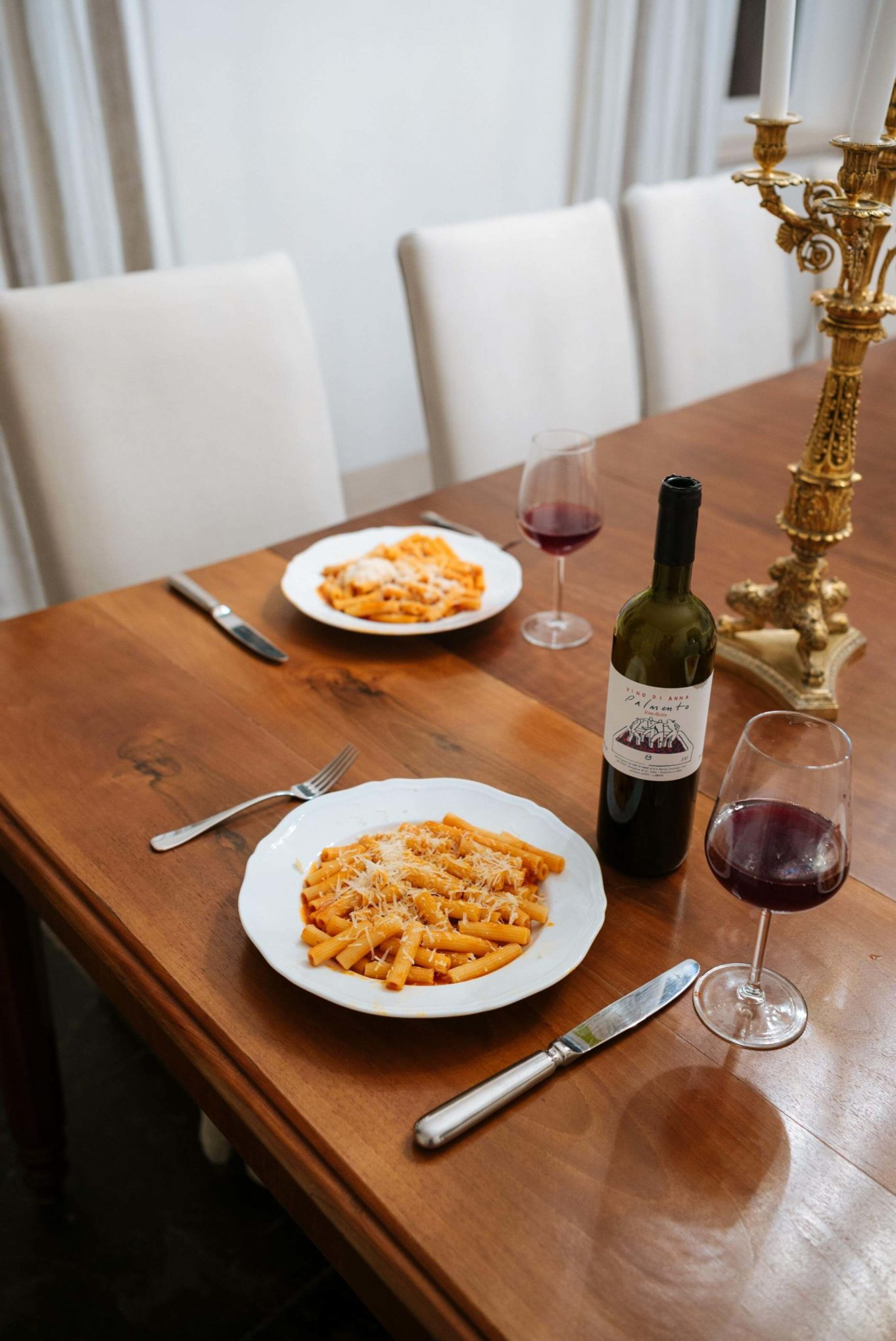 The Taste Edit makes pasta for dinner with red wine at Don Venerando in Sicily, Italy.