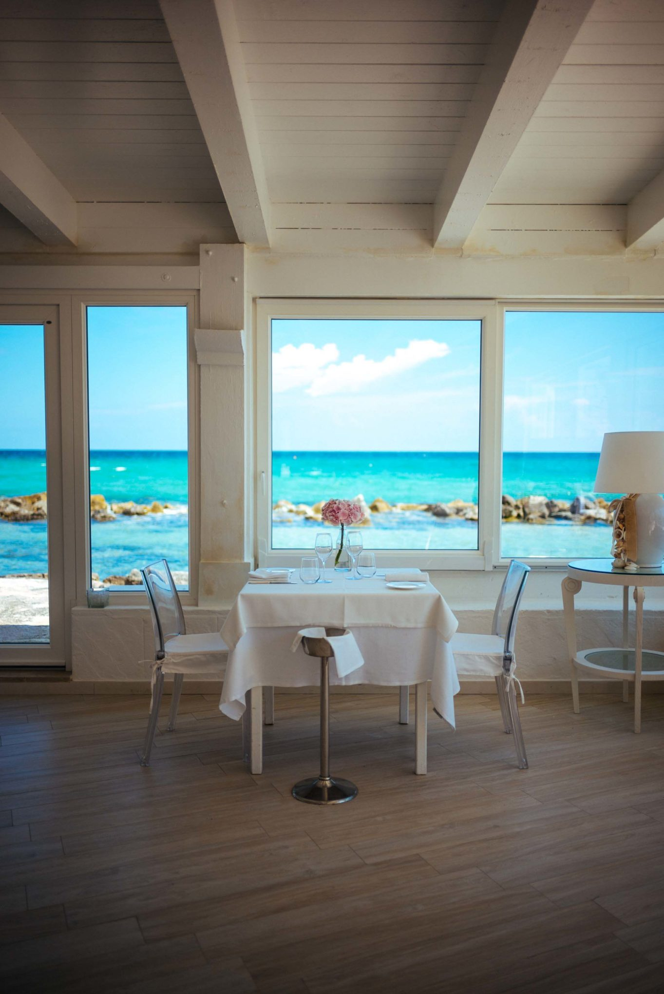Eat at the Sale Blu restaurant for fresh fish and pasta with a beautiful view of the ocean, located at the luxury Puglia hotel La Peschiera  just south of Monopoli, Italy, The Taste Edit t