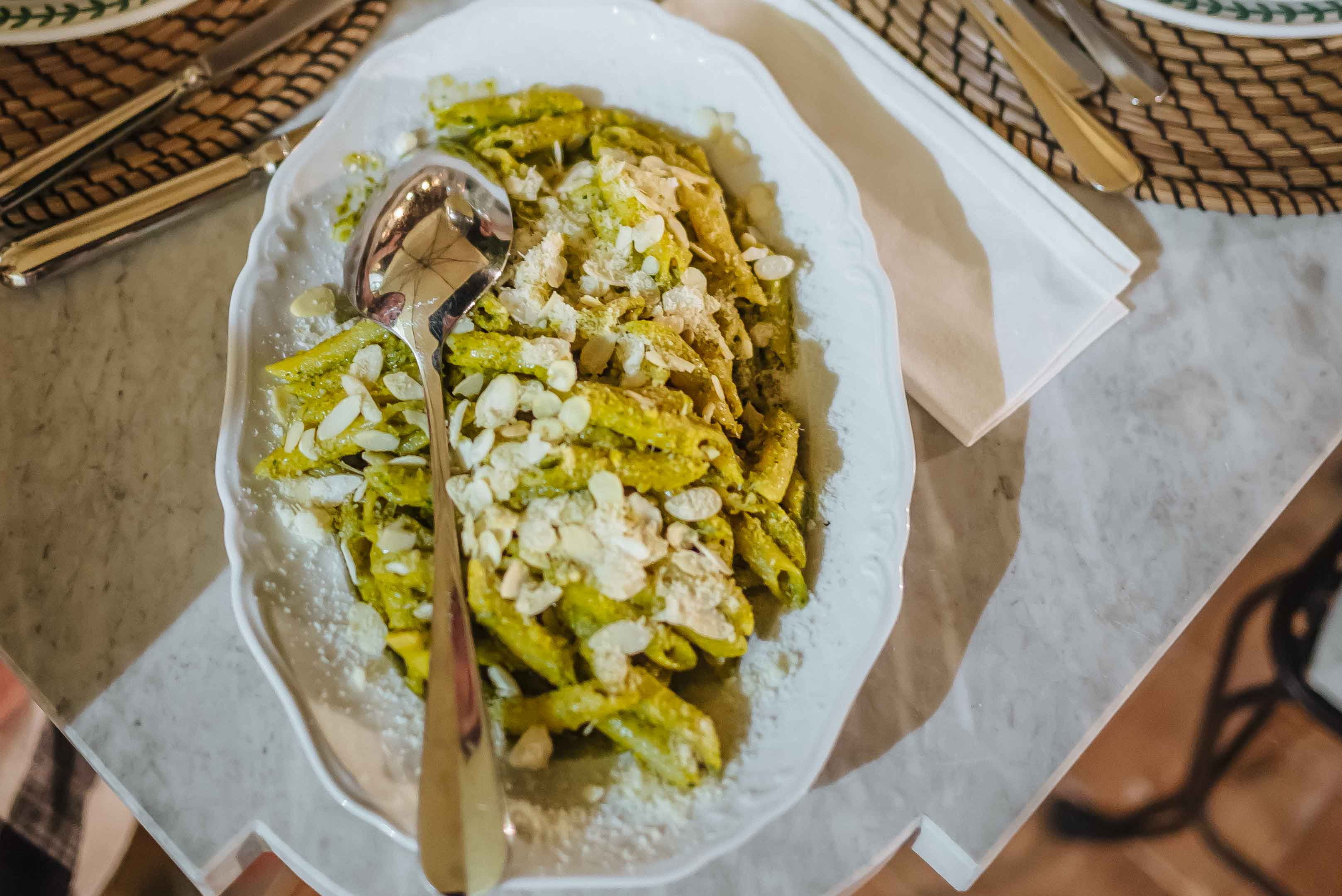 Make this traditional sicilian pasta recipe Pesto alla Trapanese with almonds from The TasteSF