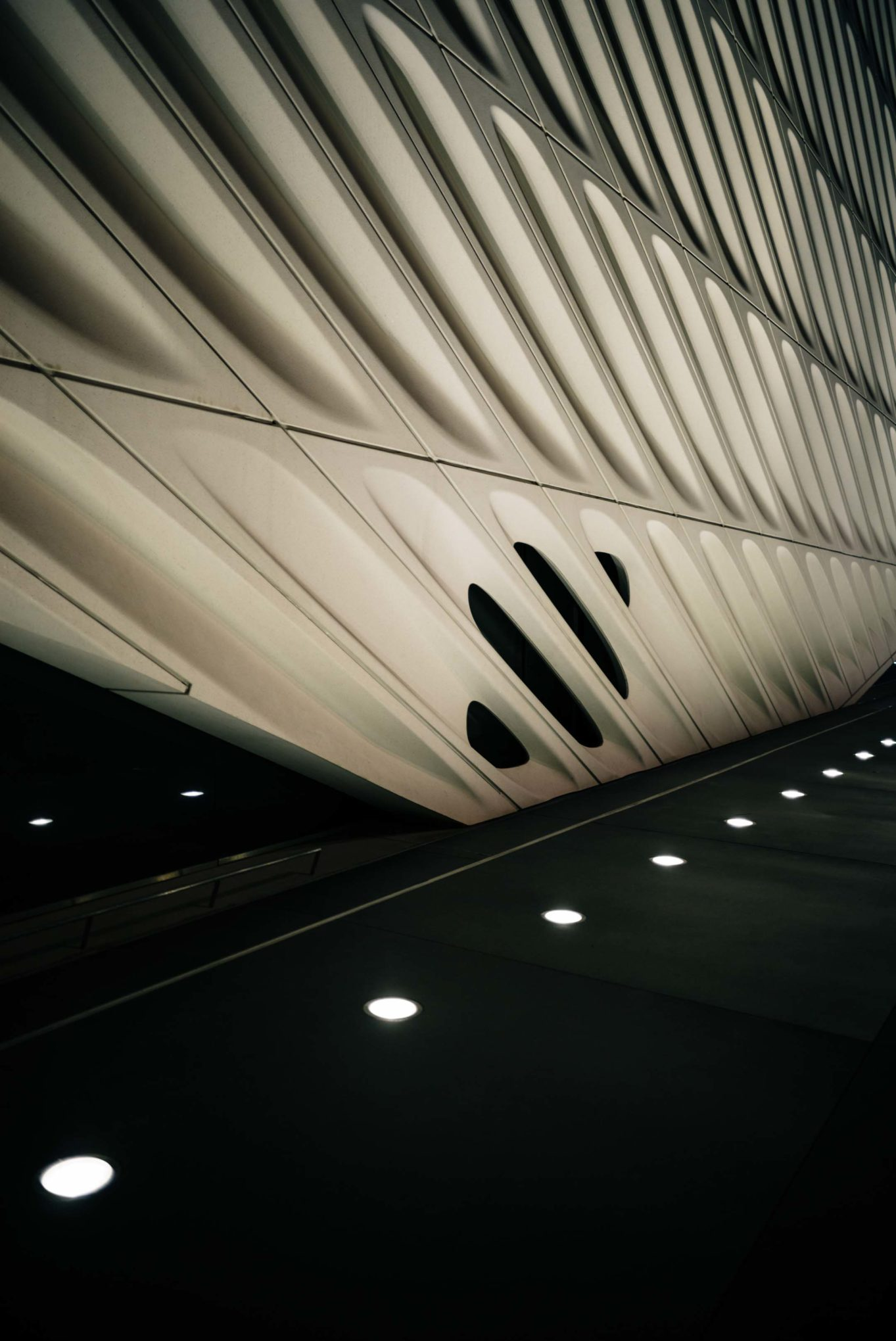 The broad museum at night in downtown LA is next to Otium, one of the top downtown restaurant