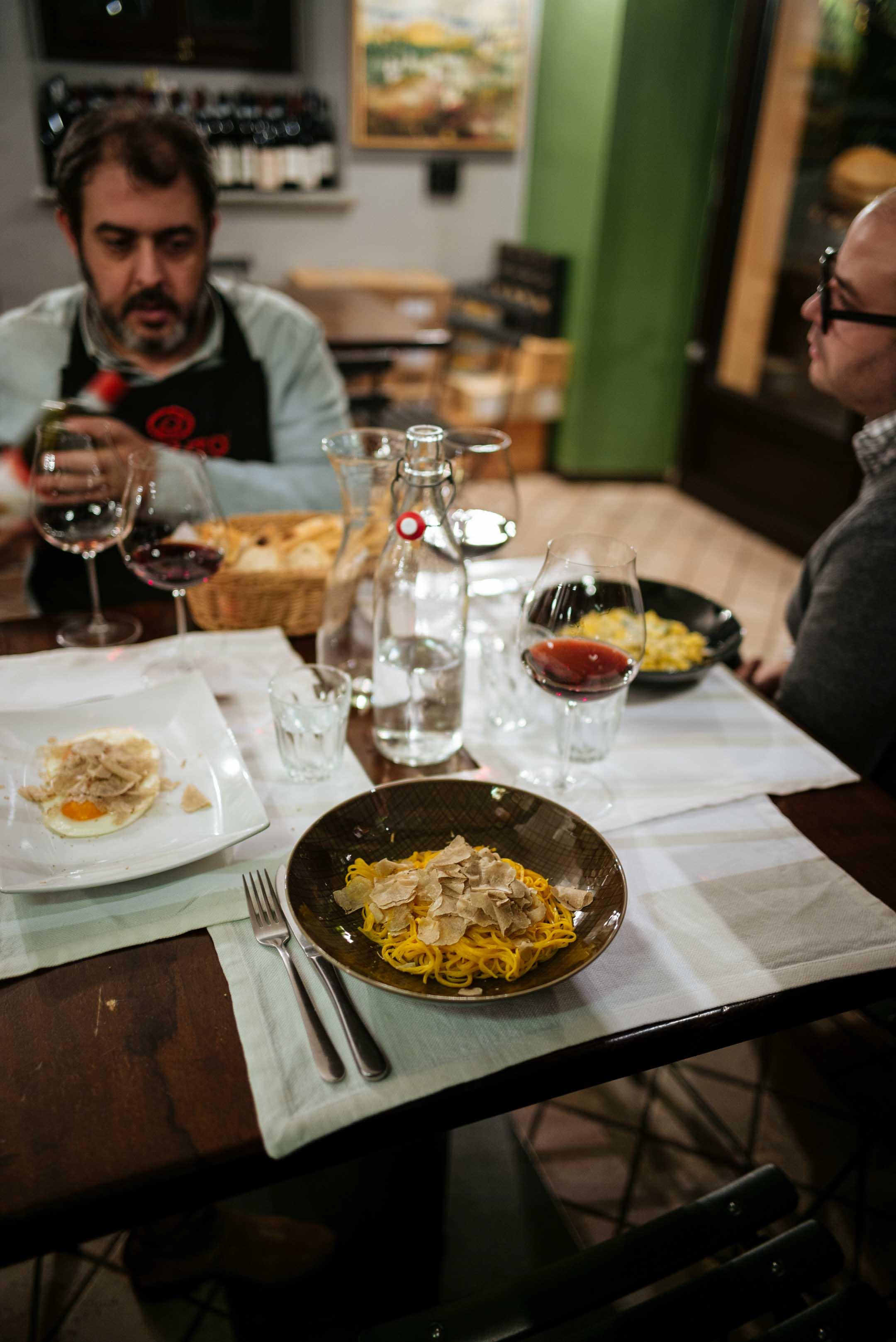 Go to Vinoteca Centro Storico in Serralunga tajarin topped with fresh truffles and agnolotti