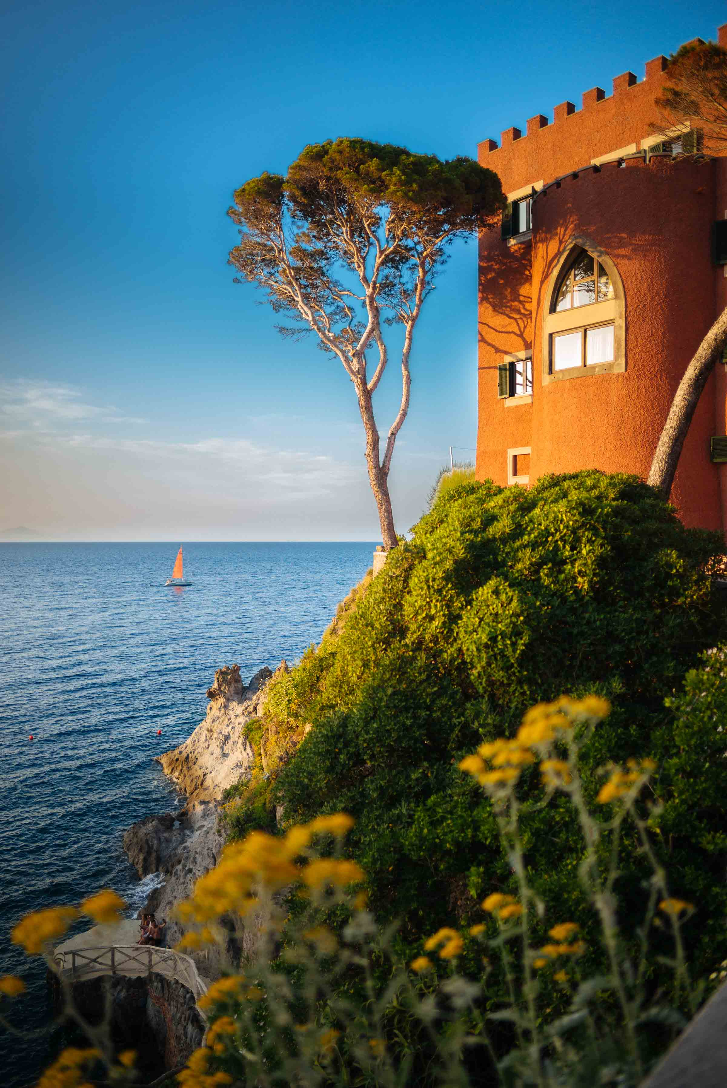 Visit the Mezzatorre Hotel and Thermal Spa in Ischia with a salt water pool, private cove, and ancient watchtower where you can watch the sunset and beautiful boats sail by. Ischia, Italy - Photo by Sarah Stanfield and The Taste SF