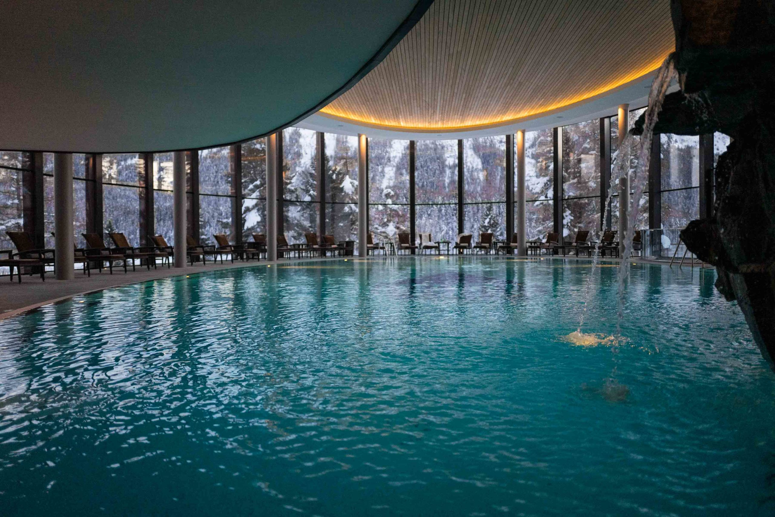 The pool and spa at Badrutt's Palace St Moritz - The Taste Edit
