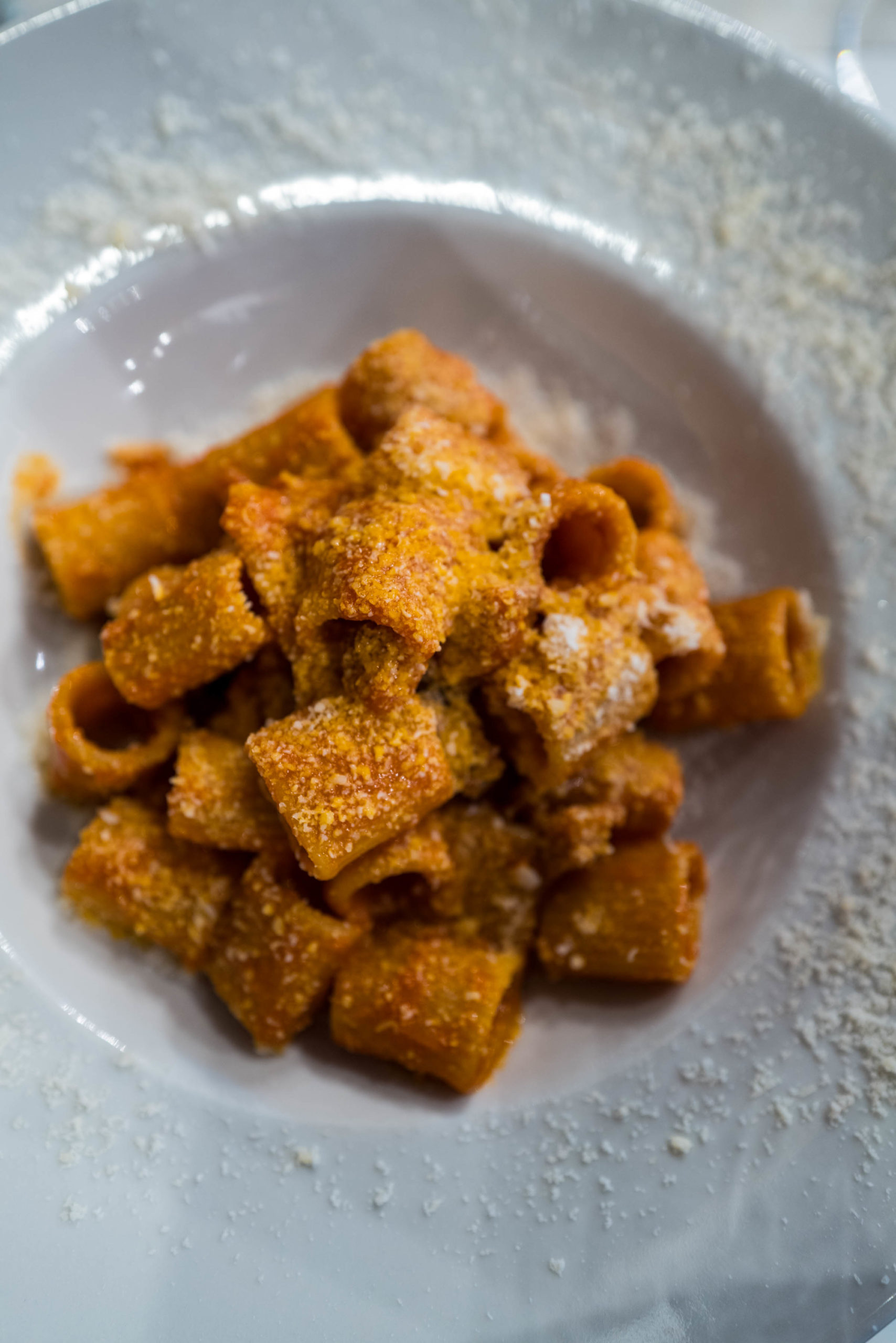 Order the Roman pasta Amatriciana at Roscioli in Rome made with tomato sauce and Guanciale, The Taste Edit #pasta #rome #italy #travel #restaurant