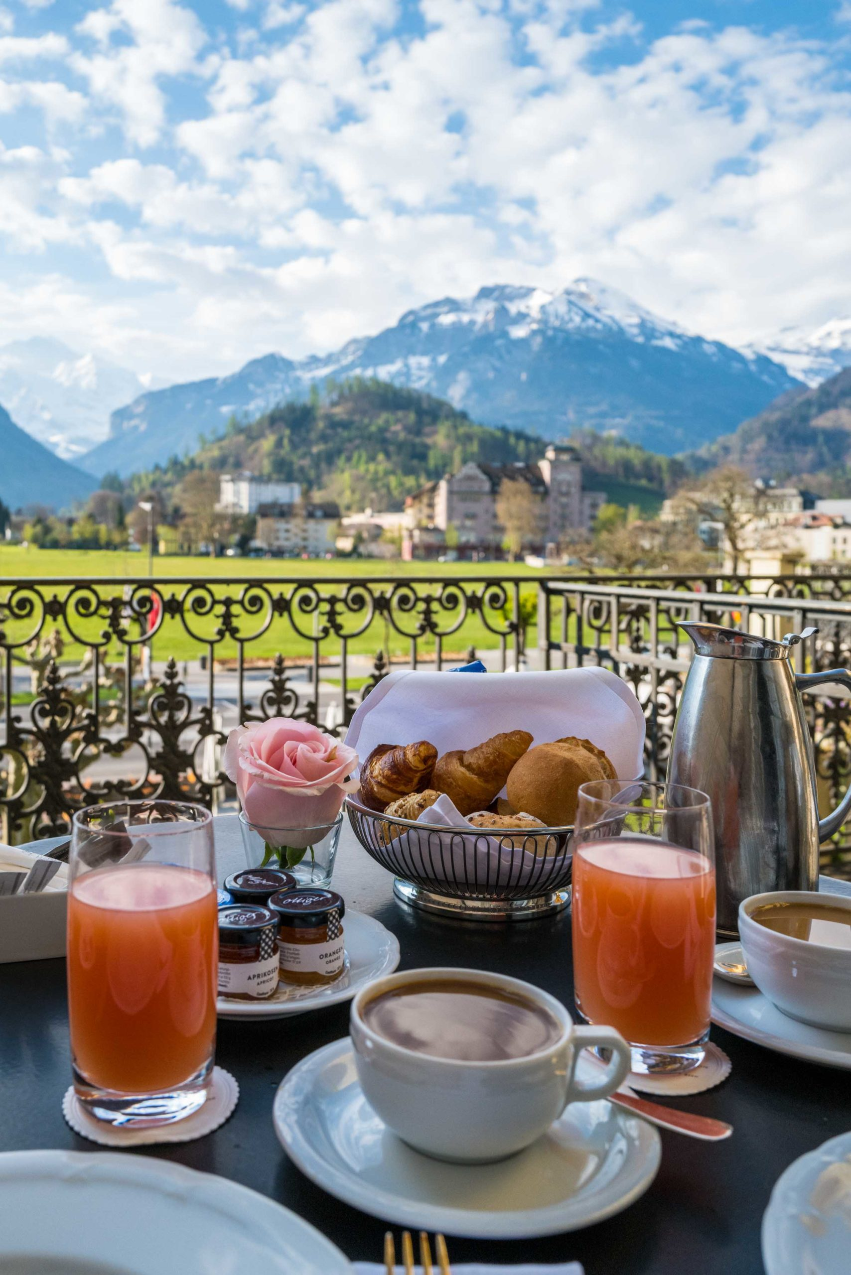 Order breakfast on the terrace overlooking the Jungfrau mountain at the Victoria-Jungfrau hotel in Switzerland, #breakfast #swiss #hotel #switzerland #mountains #luxury #bunch